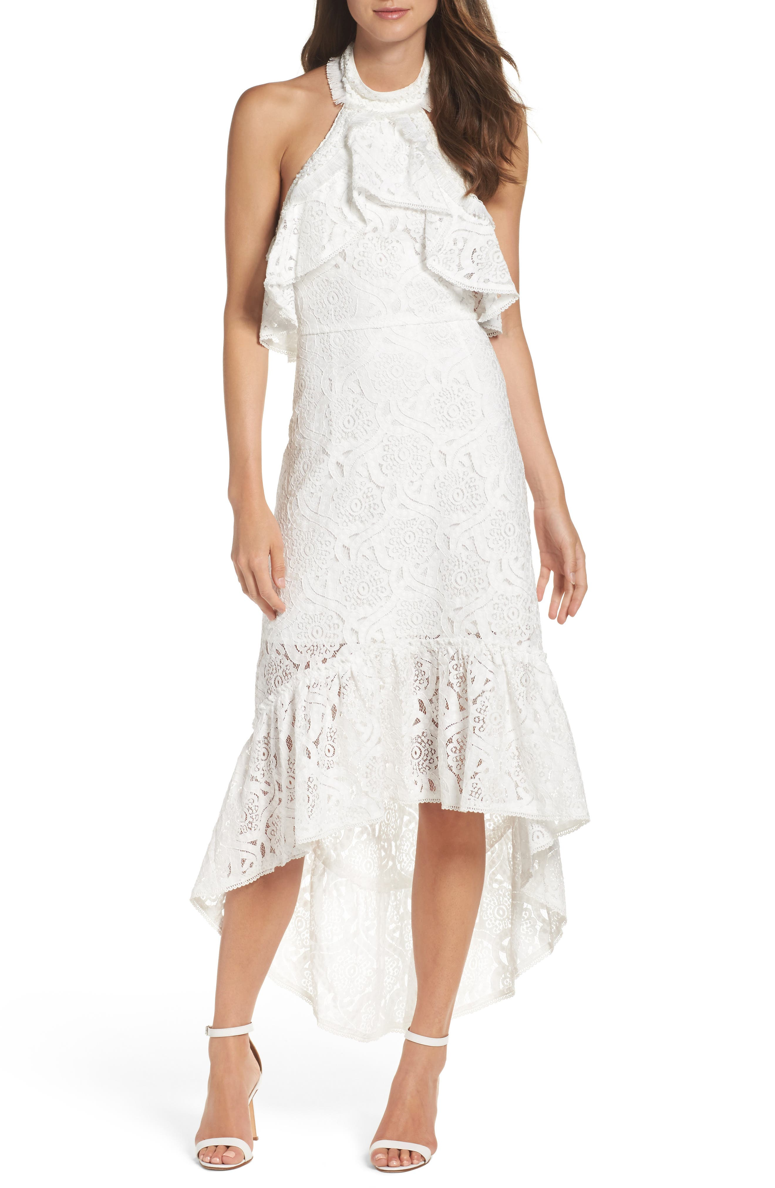 Main Image - Foxiedox Lace Halter High/Low Gown
