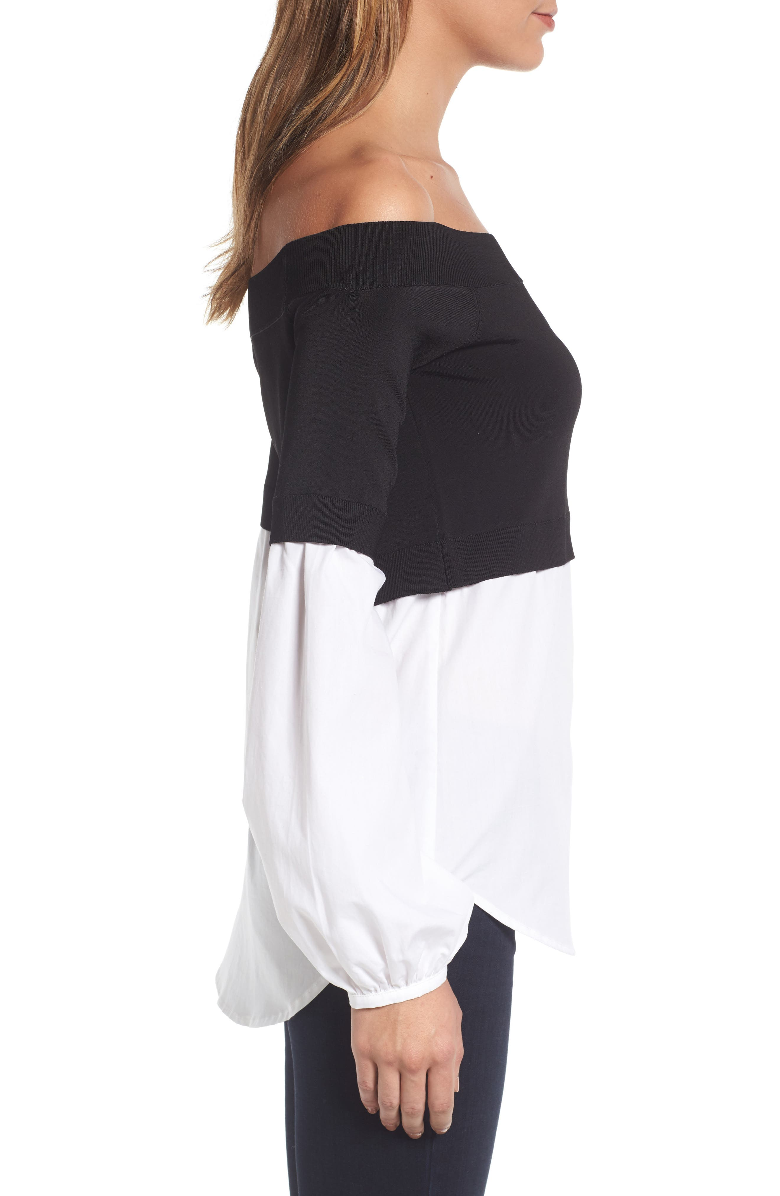 Alternate Image 4  - Trouvé Off the Shoulder Poplin Sweater