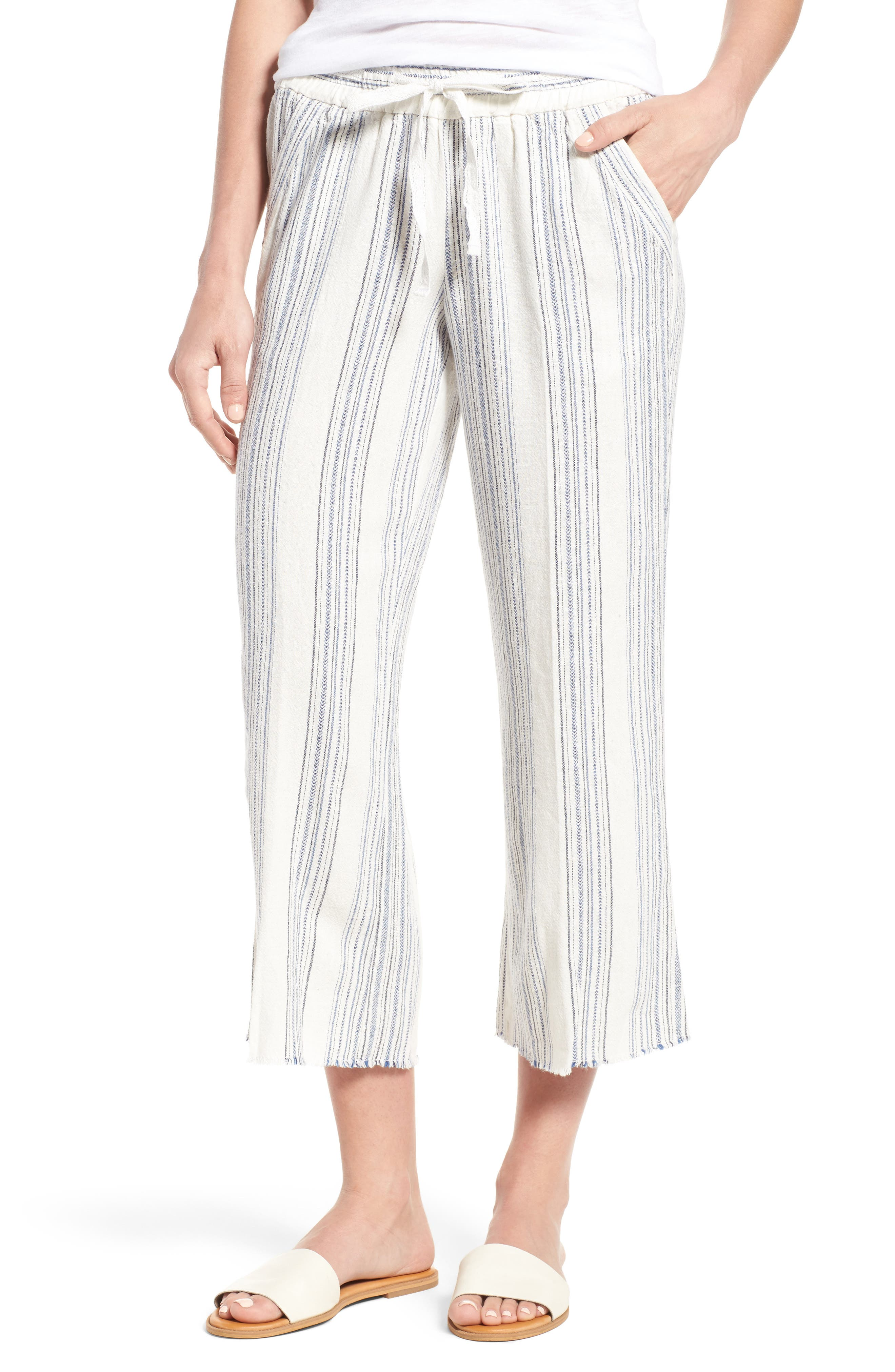 Wit & Wisdom Drawstring Stripe Crop Sailor Pants (Regular & Petite) (Nordstrom Exclusive)