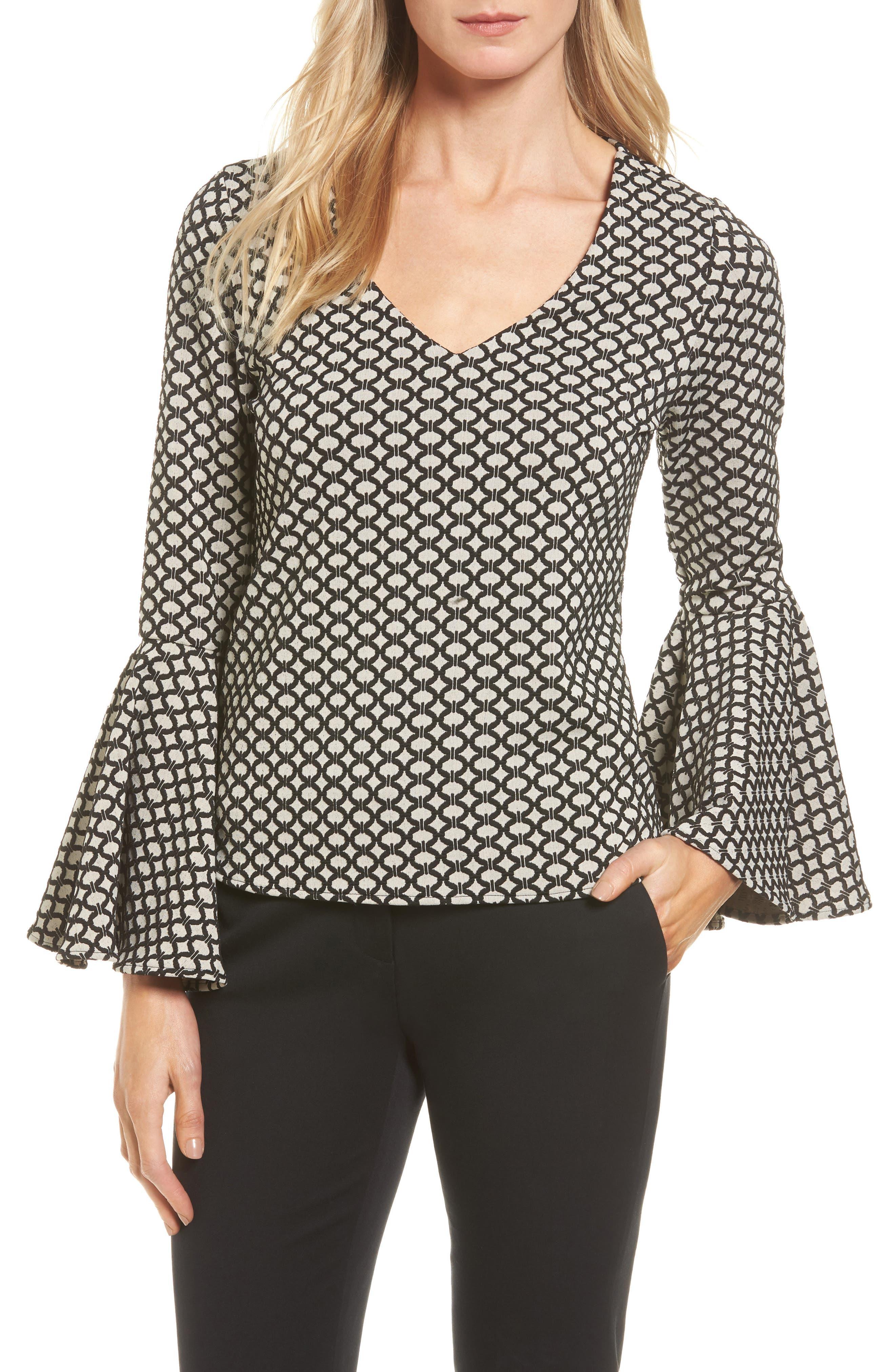 Karen Kane Jacquard Knit Bell Sleeve Top