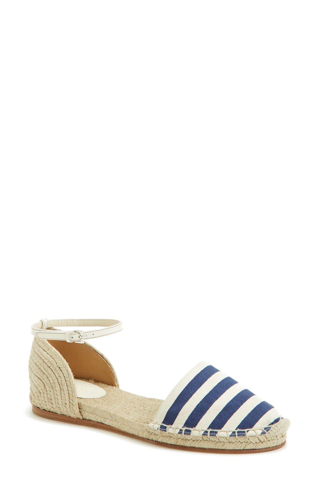 Alternate Image 1 Selected - Gucci 'Veronique' Ankle Strap d'Orsay Espadrille Flat (Women)
