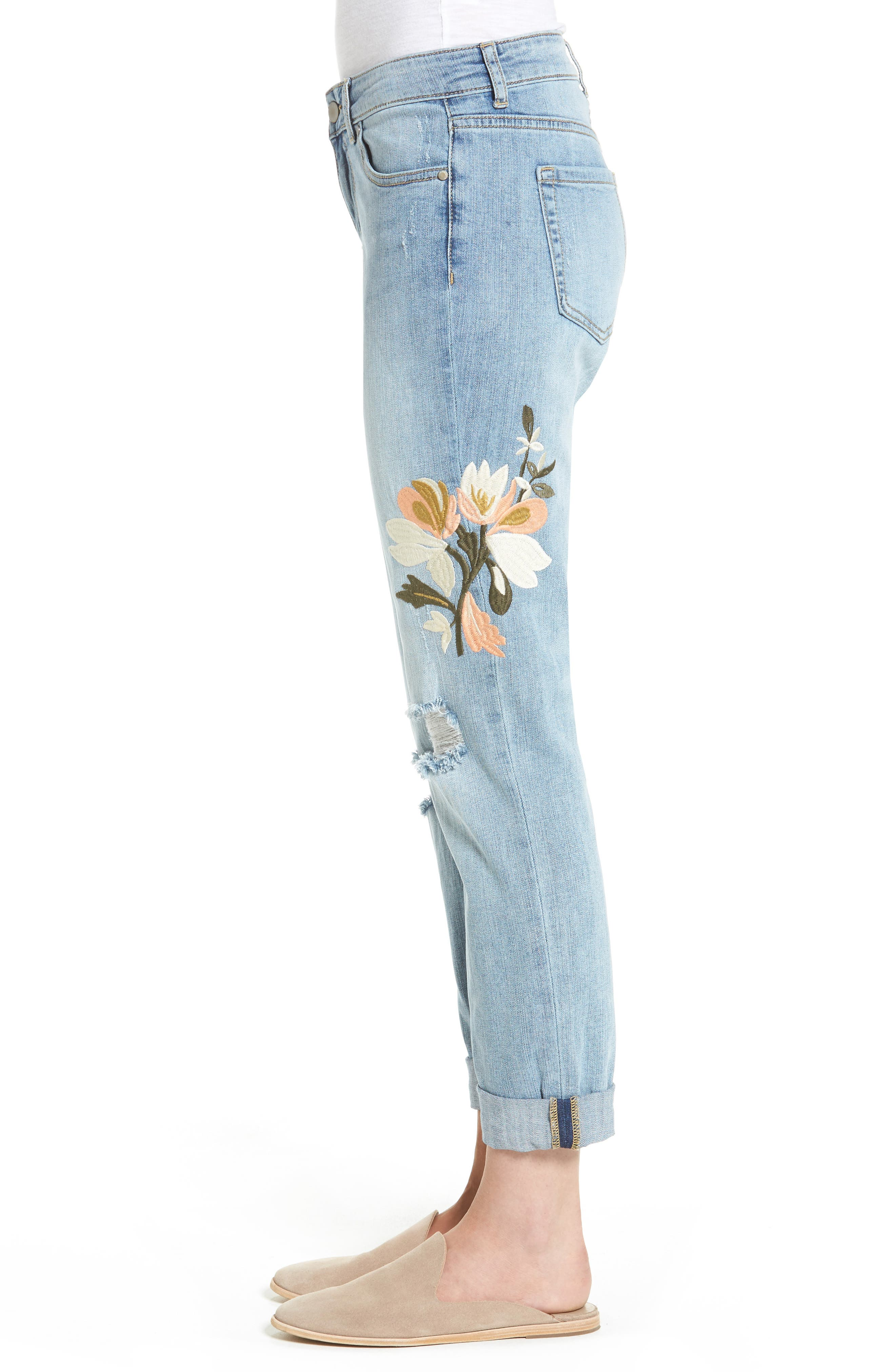 Alternate Image 4  - Caslon® Ripped & Floral Embroidered Straight Leg Jeans (Regular & Petite)