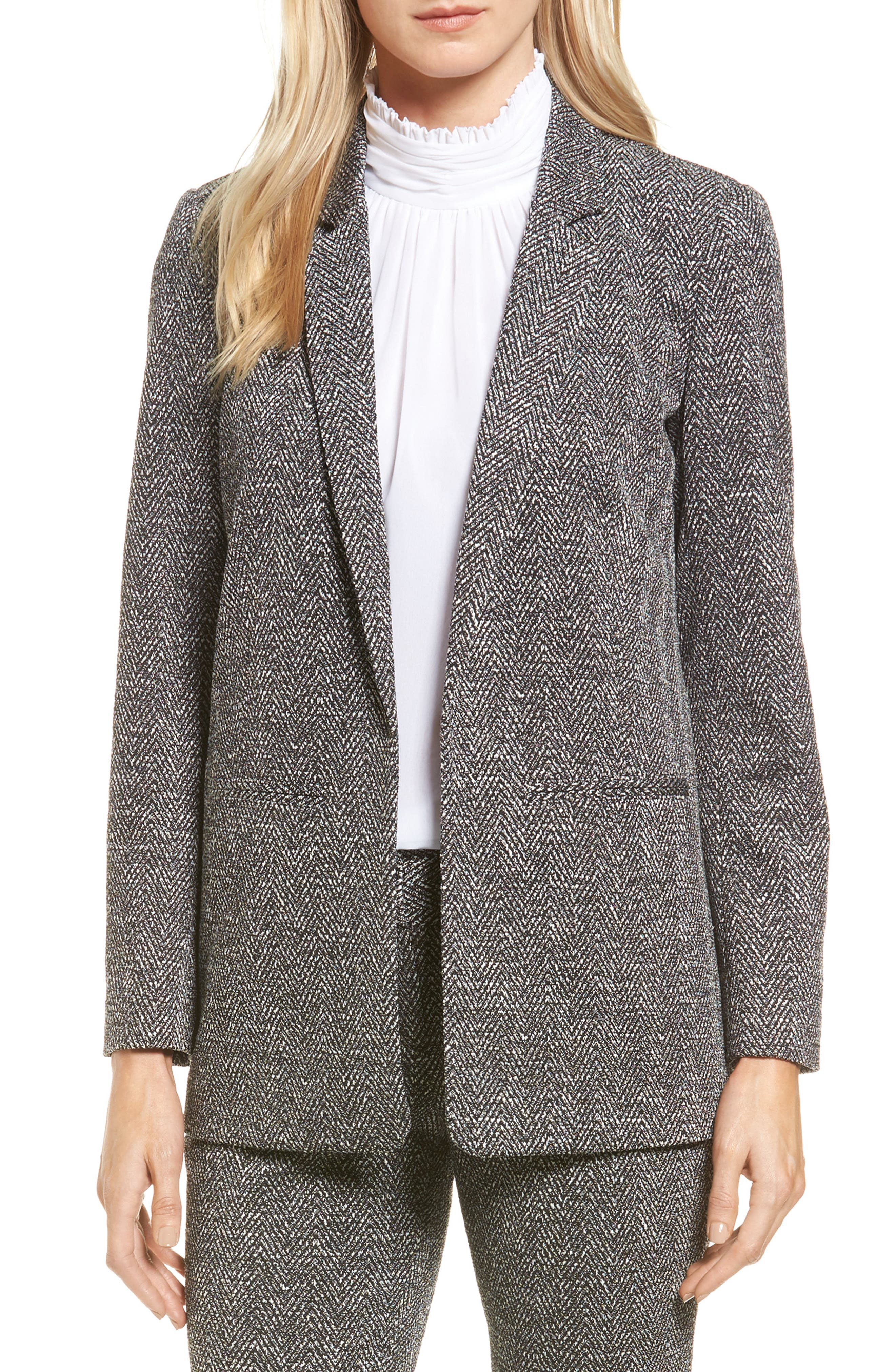Vince Camuto Herringbone Jacquard Open Front Jacket
