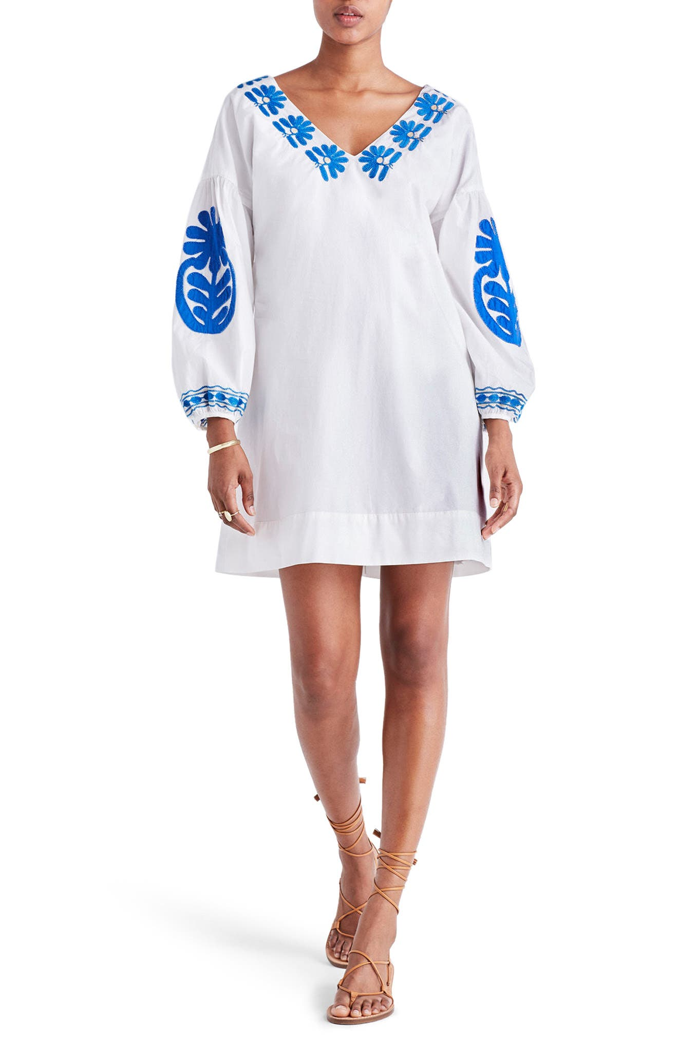 Main Image - Madewell Embroidered Appliqué Shift Dress