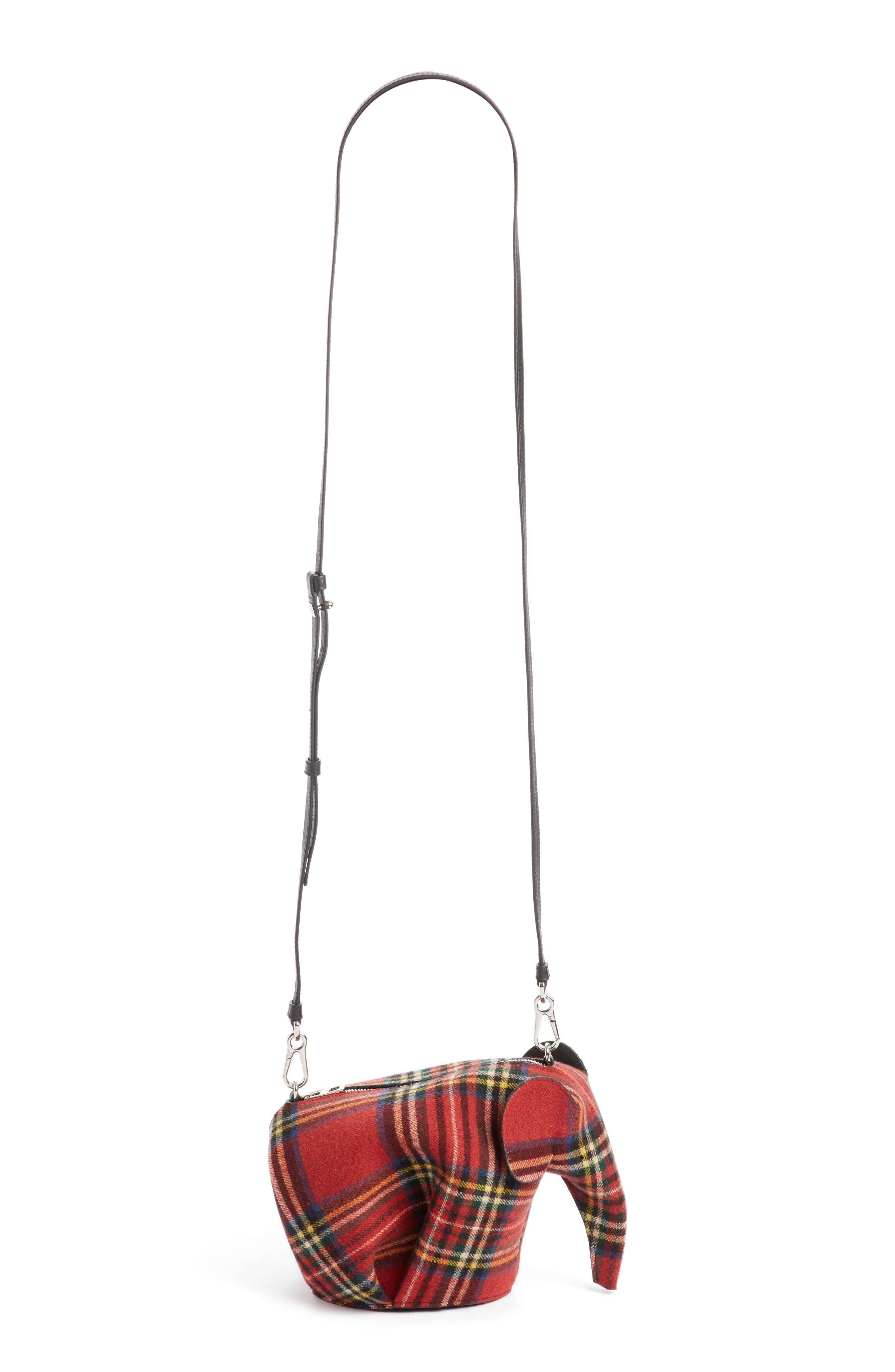 Loewe Mini Elephant Tartan Wool Crossbody Bag