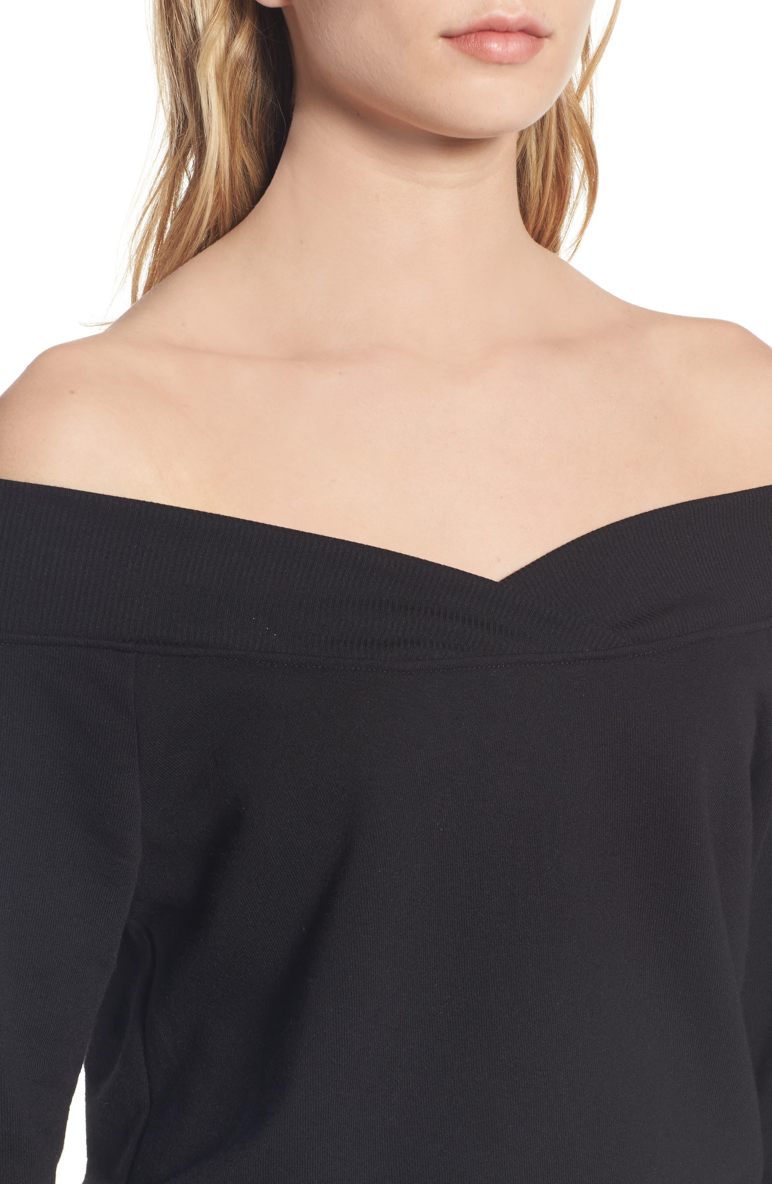 Alternate Image 4  - Socialite Off the Shoulder Sweatshirt