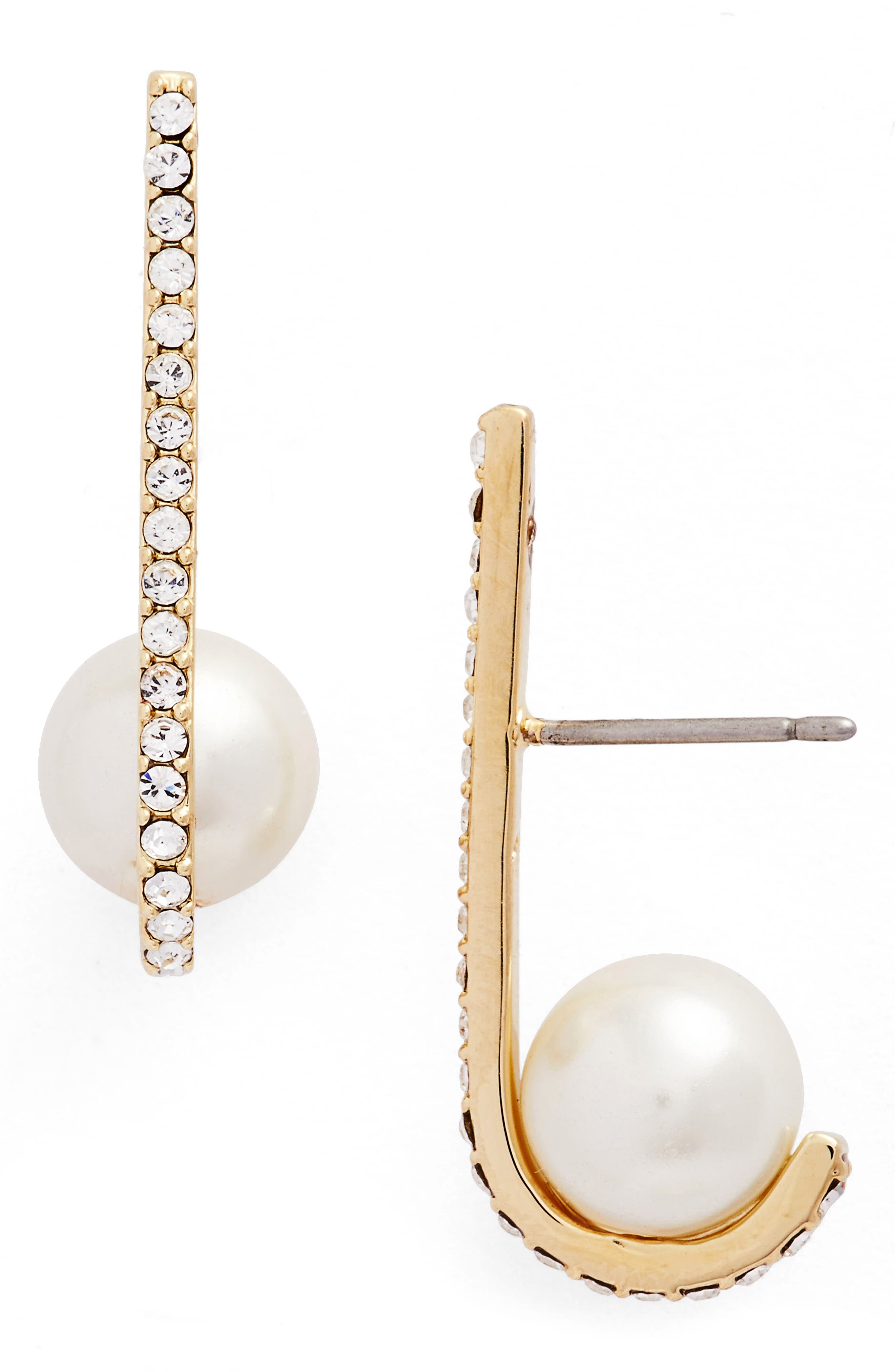 kate spade new york imitation pearl drop earrings