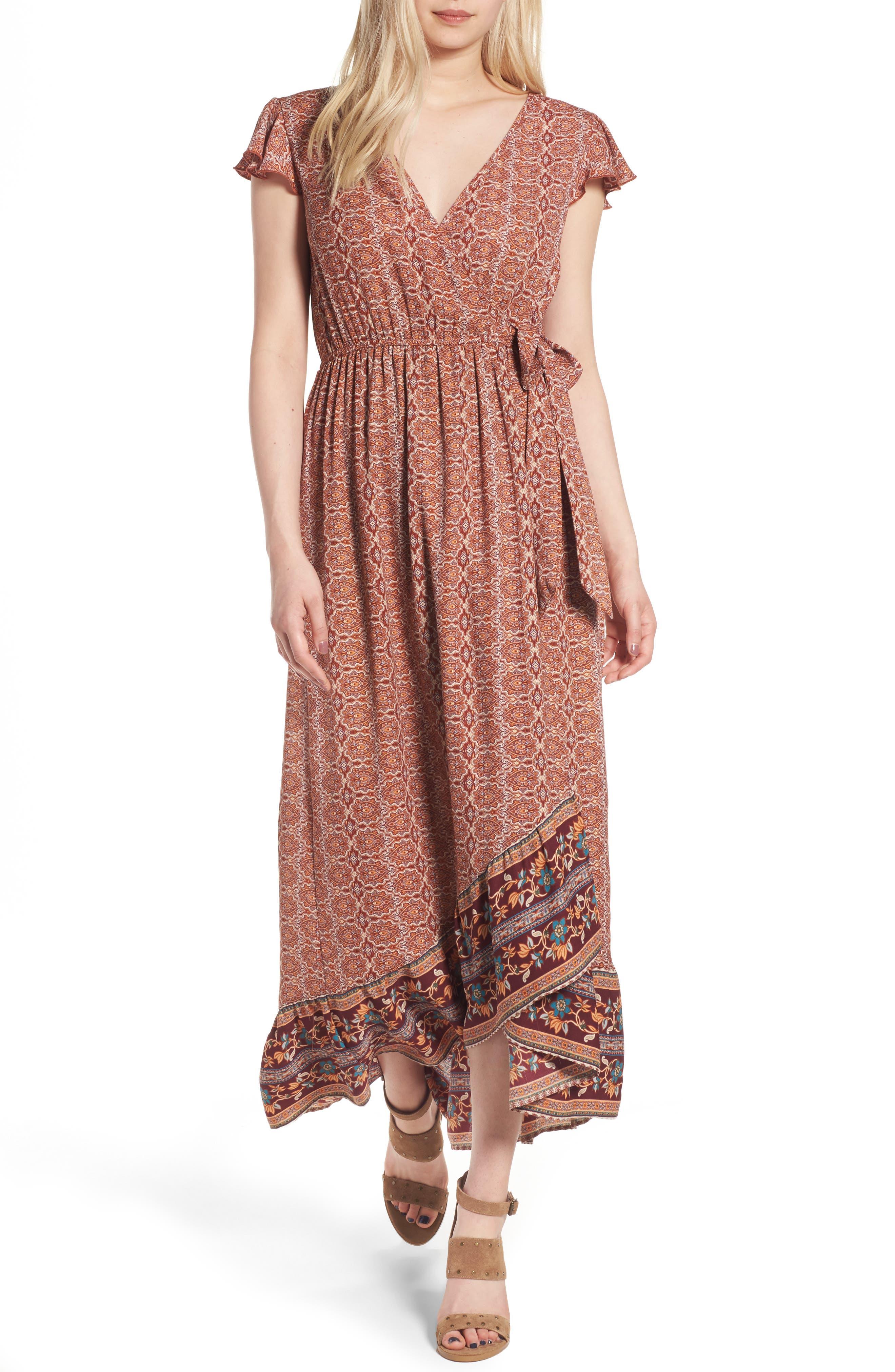 Main Image - Band of Gypsies Faux Wrap Maxi Dress