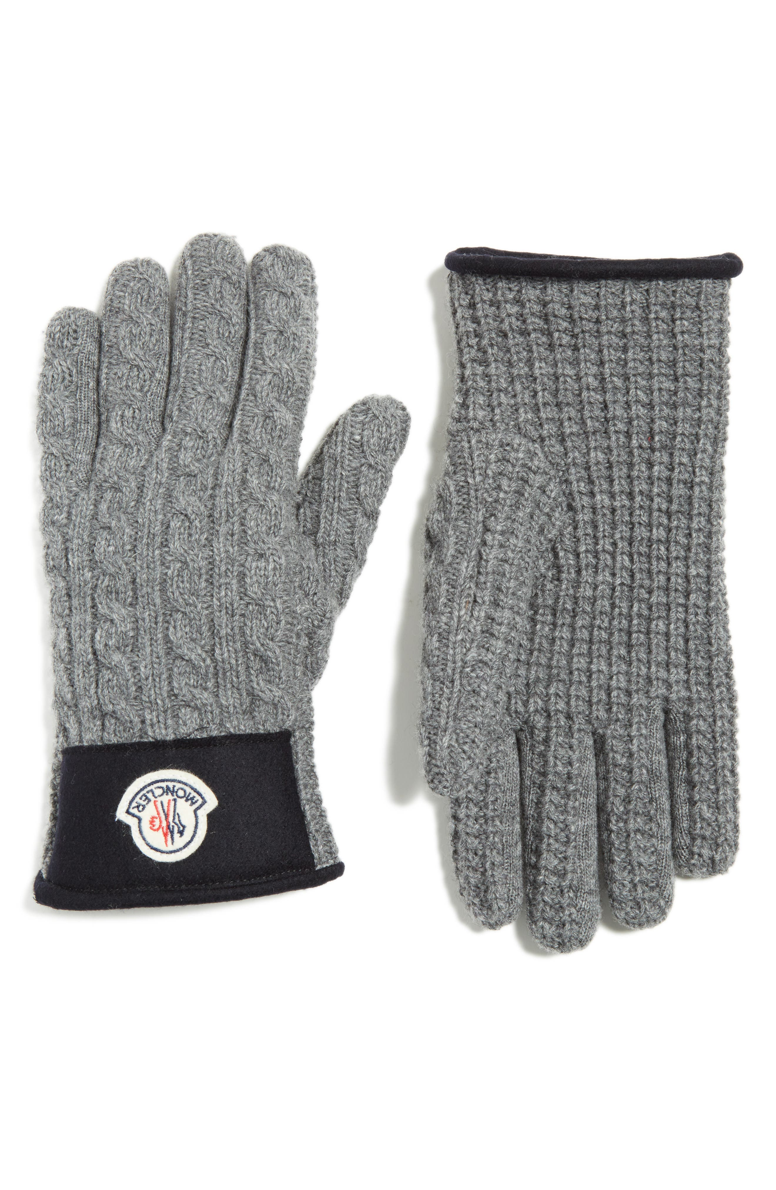 Moncler Cable Knit Wool & Cashmere Gloves