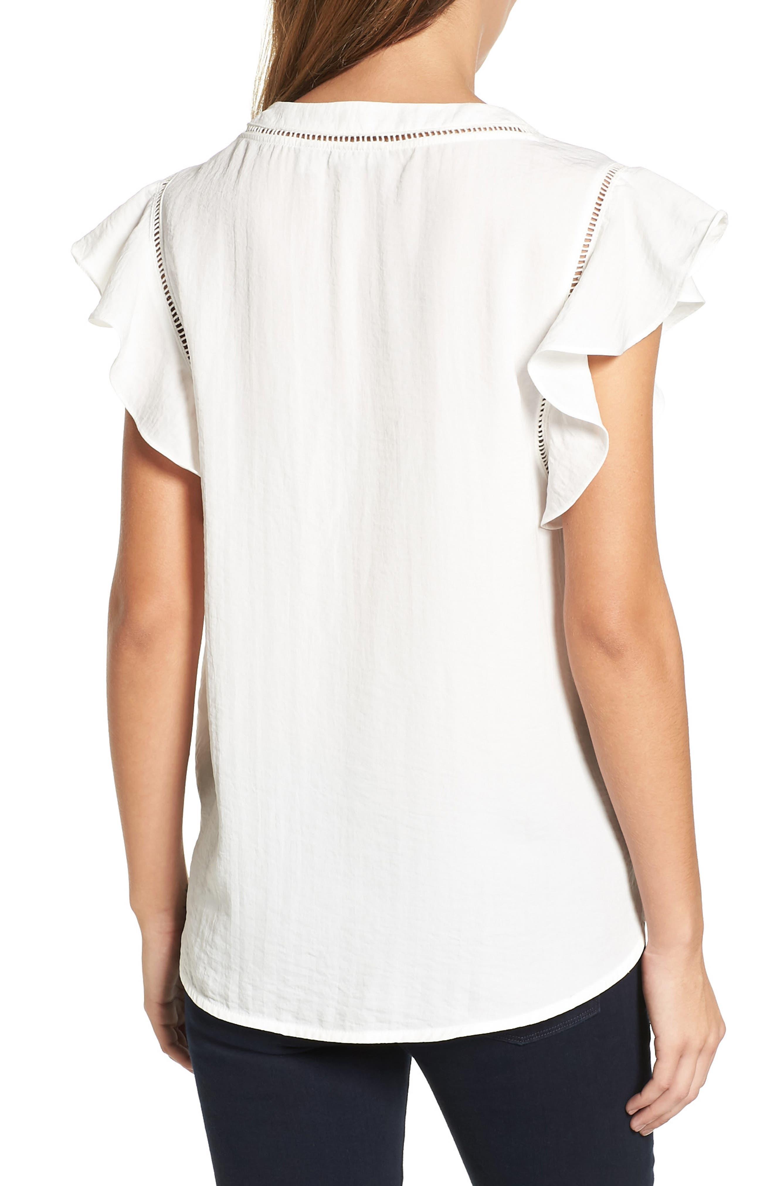 Alternate Image 2  - Halogen® Flutter Sleeve Top (Regular & Petite)