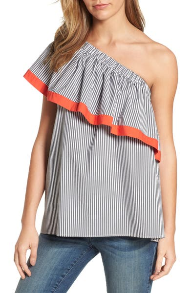 Main Image - Vince Camuto Ruffle One-Shoulder Blouse (Regular & Petite)