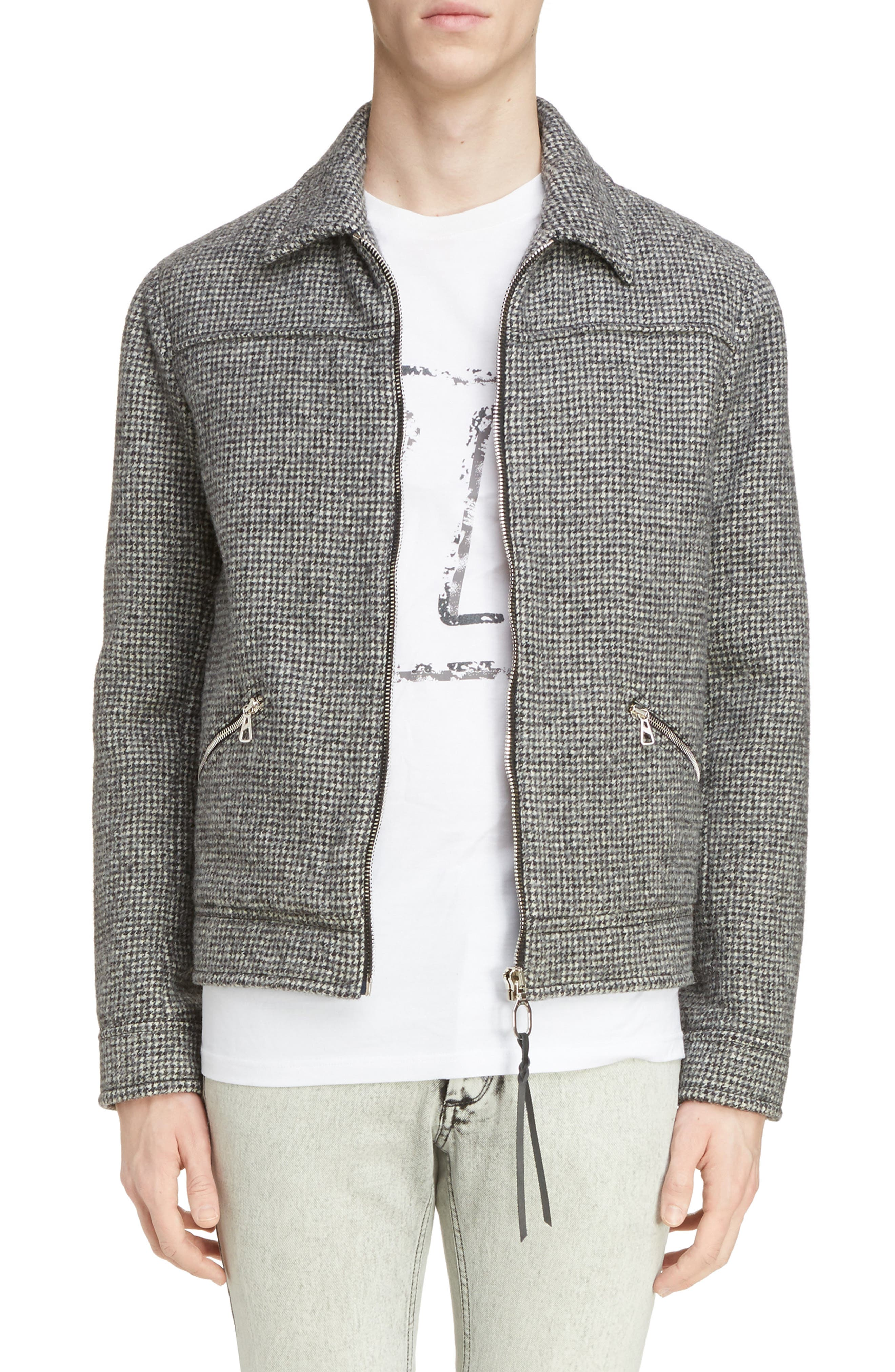 Lanvin Houndstooth Wool Zip Front Jacket