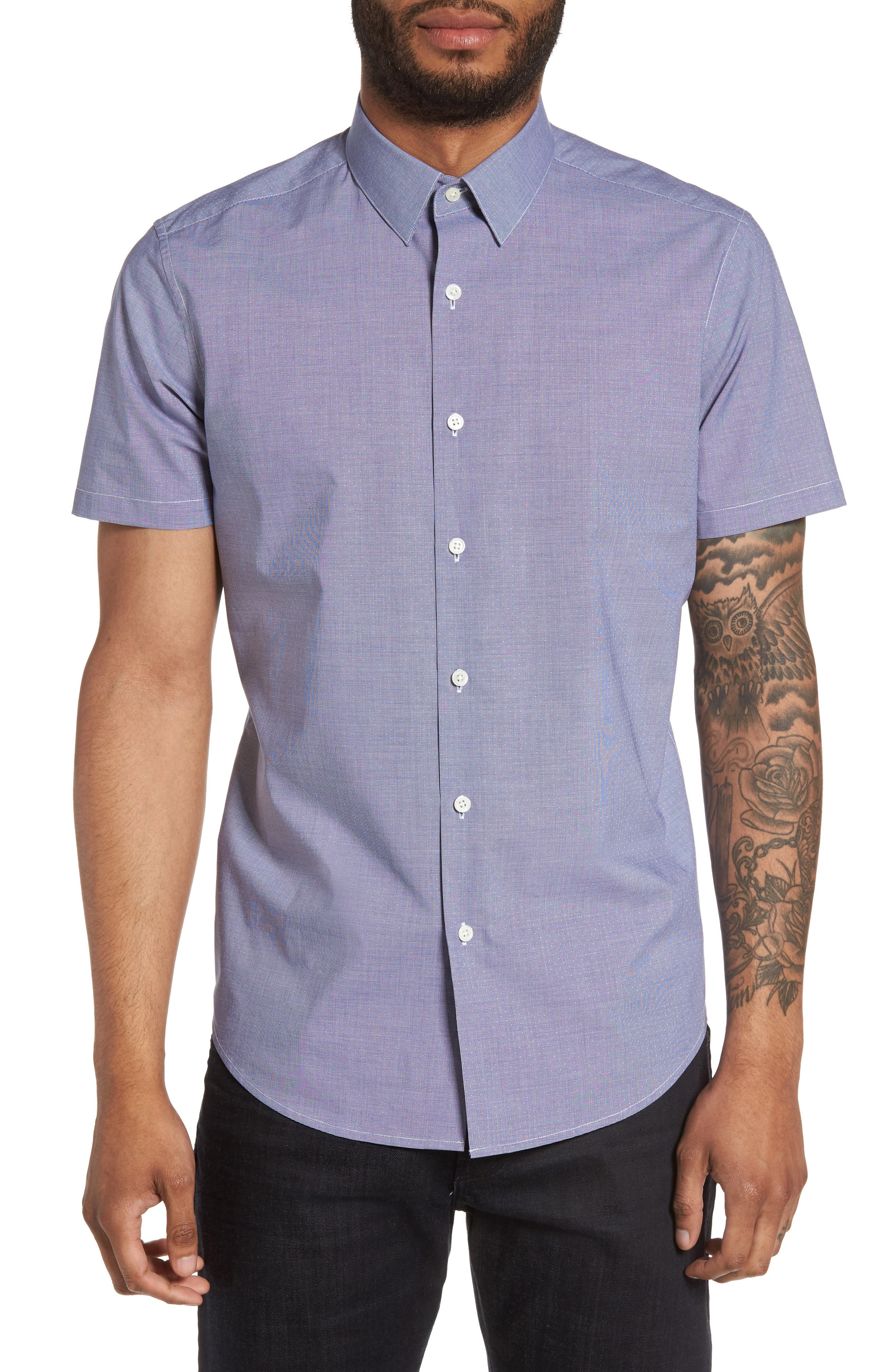 Theory Sylvain Trim Fit Micro Houndstooth Sport Shirt