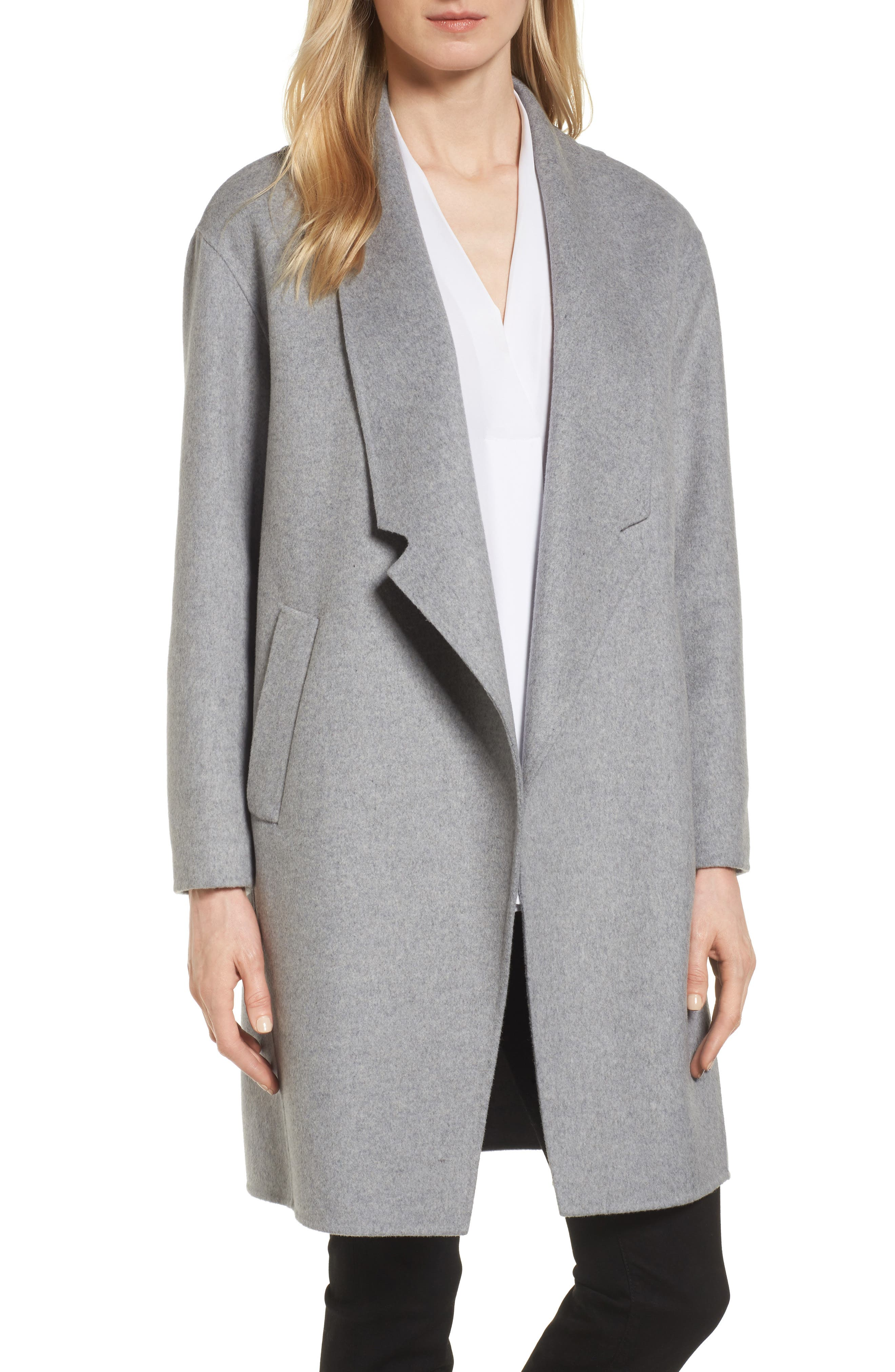 Eliza J Double Face Wool Blend Boyfriend Coat