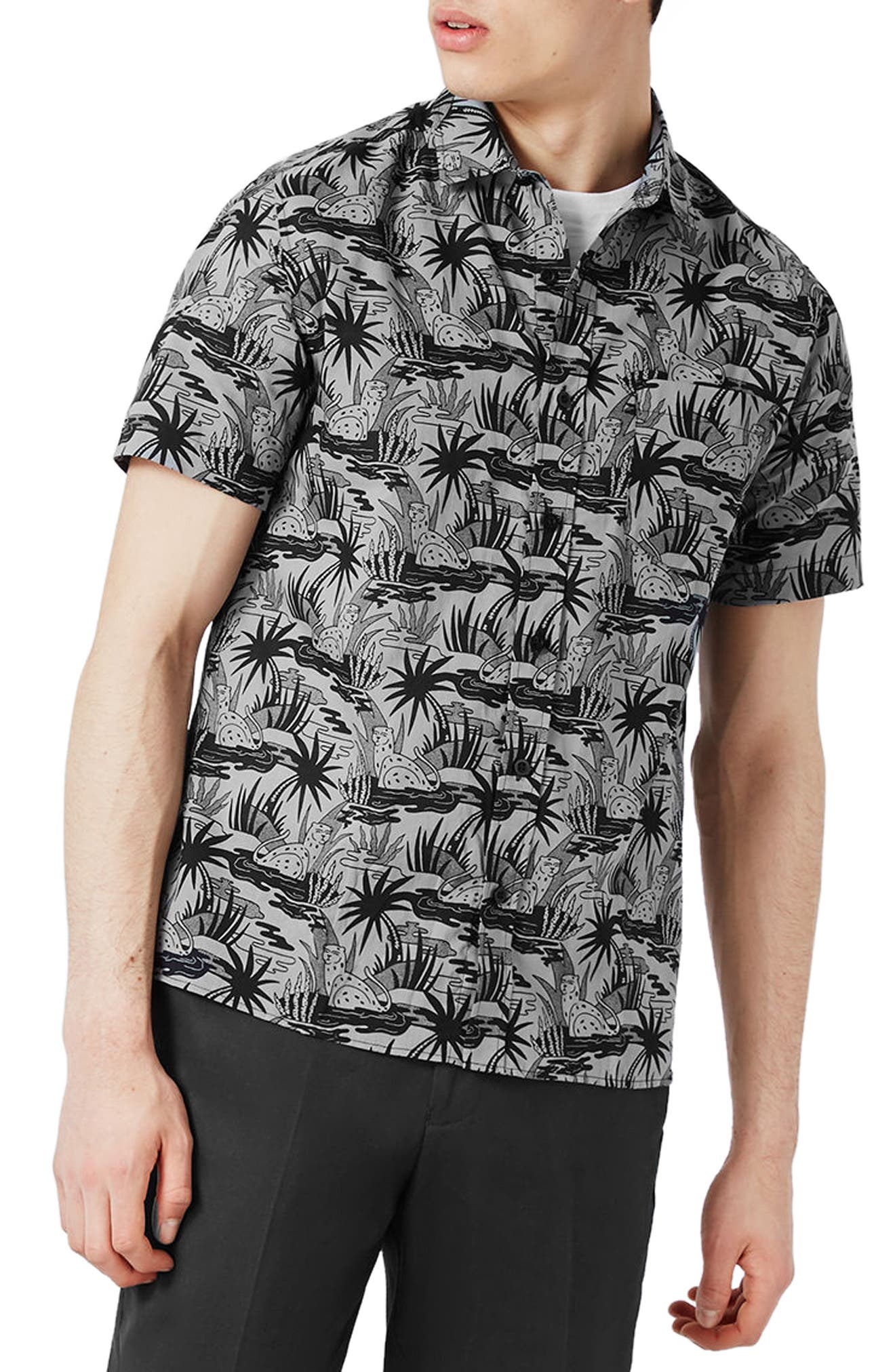 Topman Cheetah Print Shirt