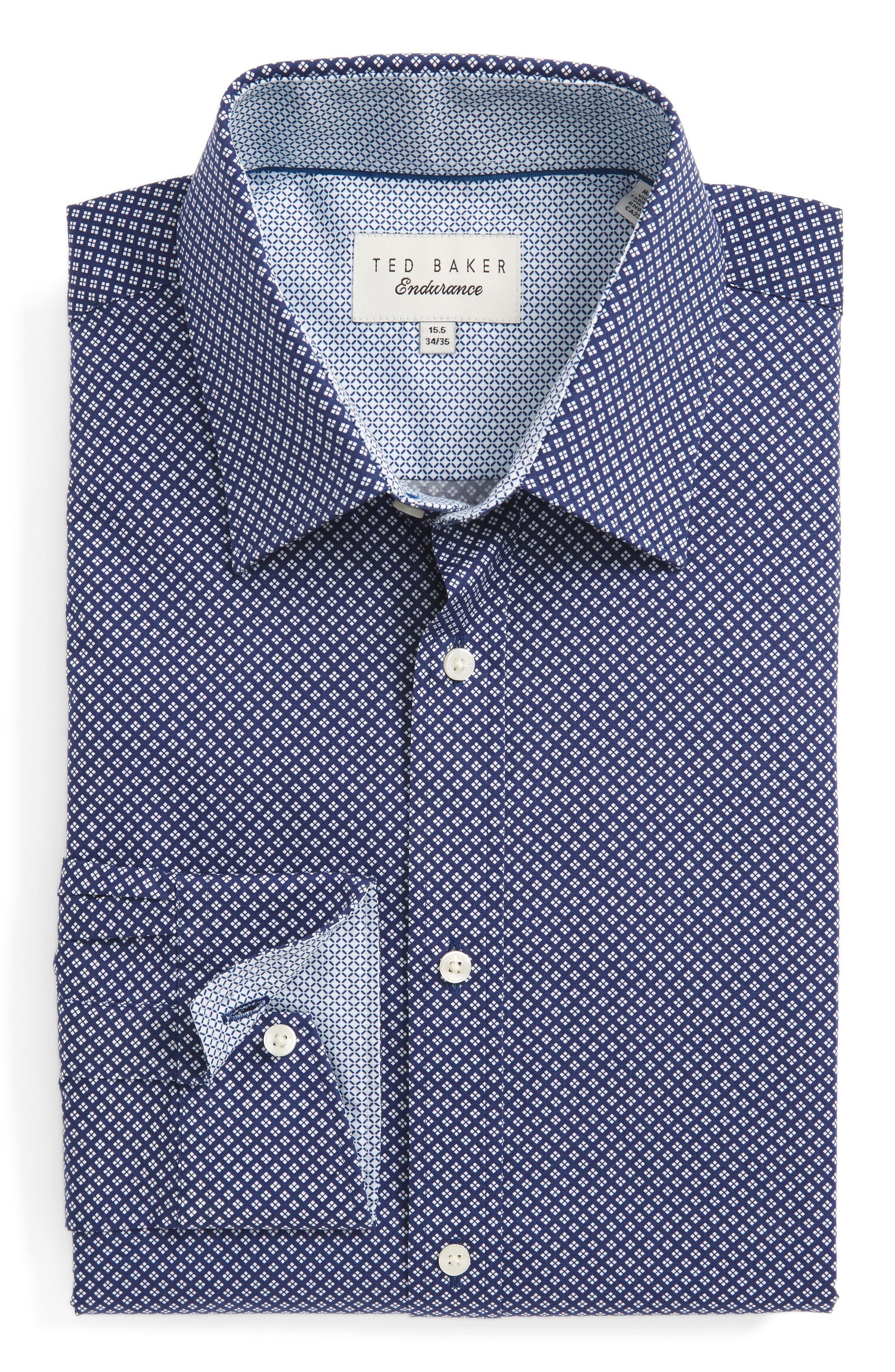 Ted Baker London Agra Trim Fit Geometric Dress Shirt