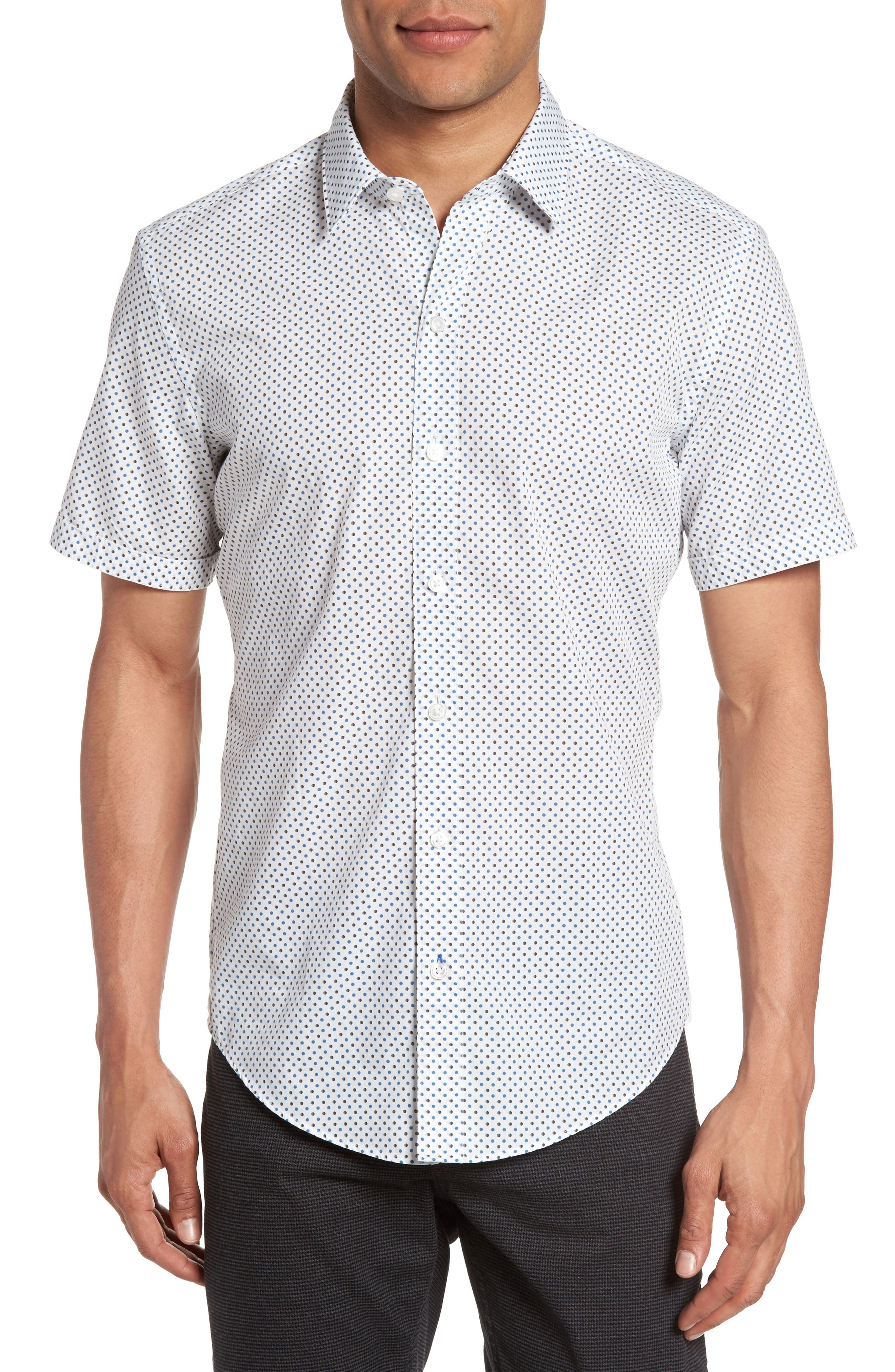 BOSS Robbie Sharp Fit Micro Circle Sport Shirt