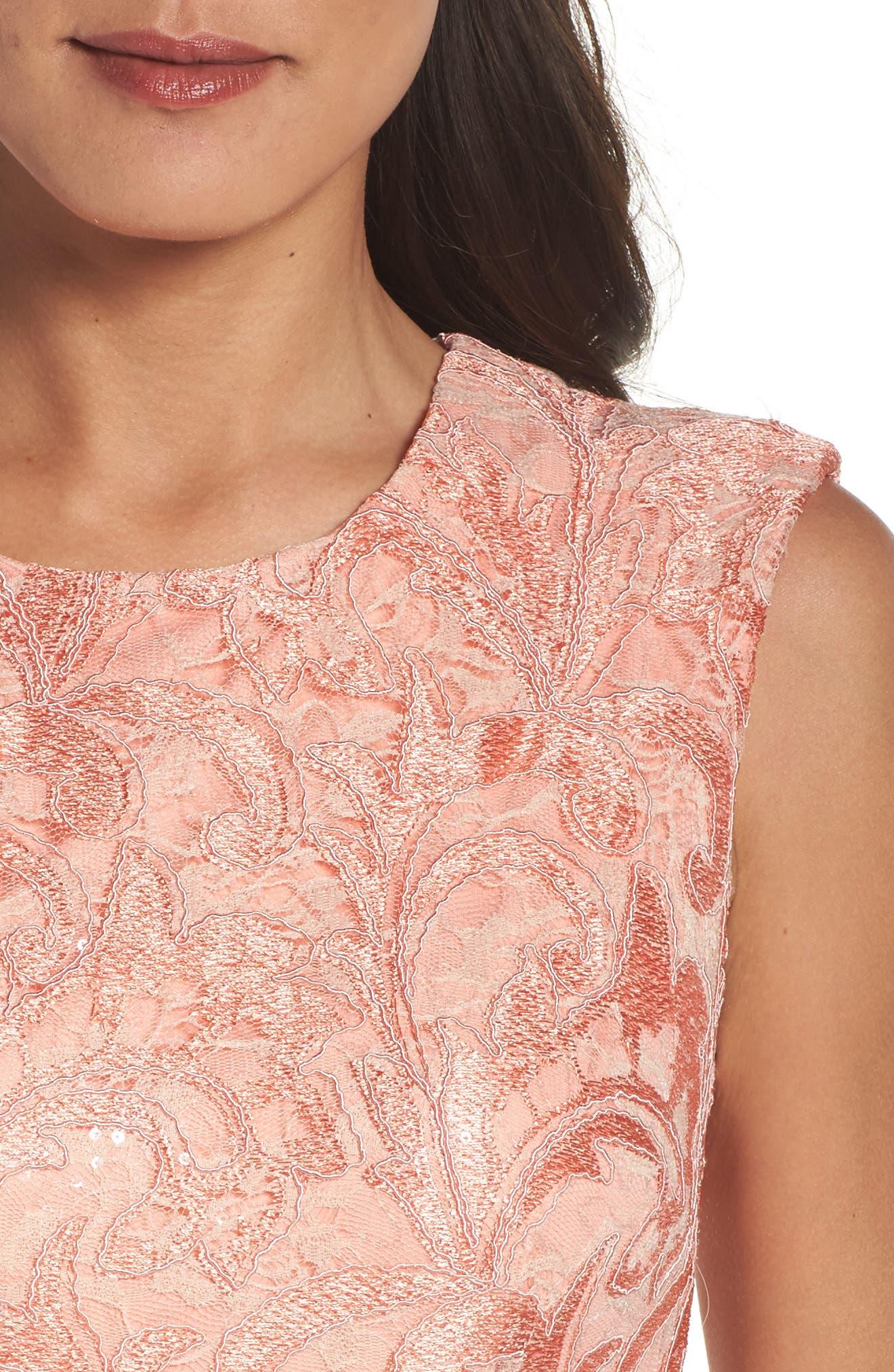 Alternate Image 4  - Chetta B Sequin Lace Sheath Dress