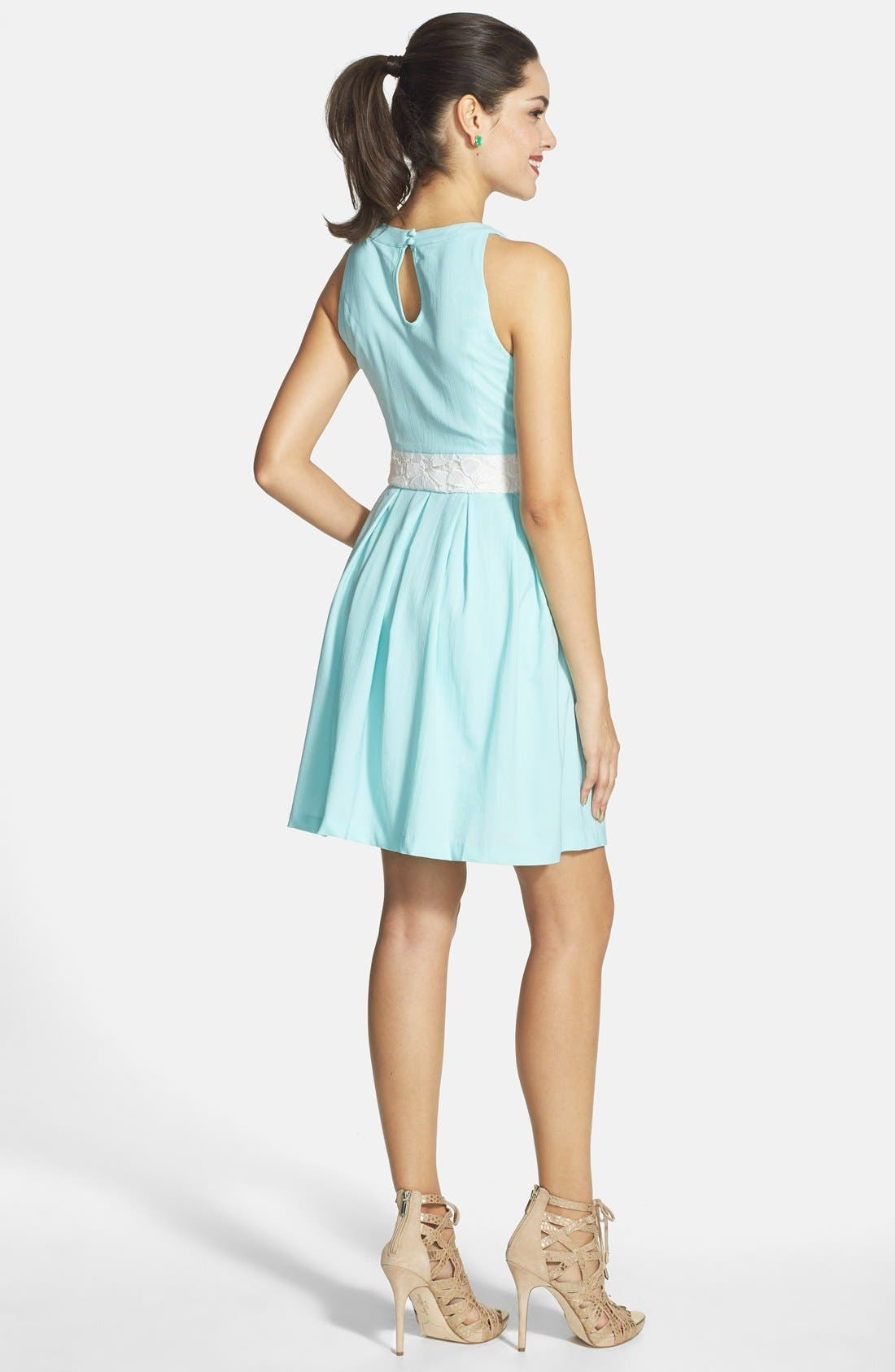 Alternate Image 2  - a. drea Lace Bodice Skater Dress (Juniors)