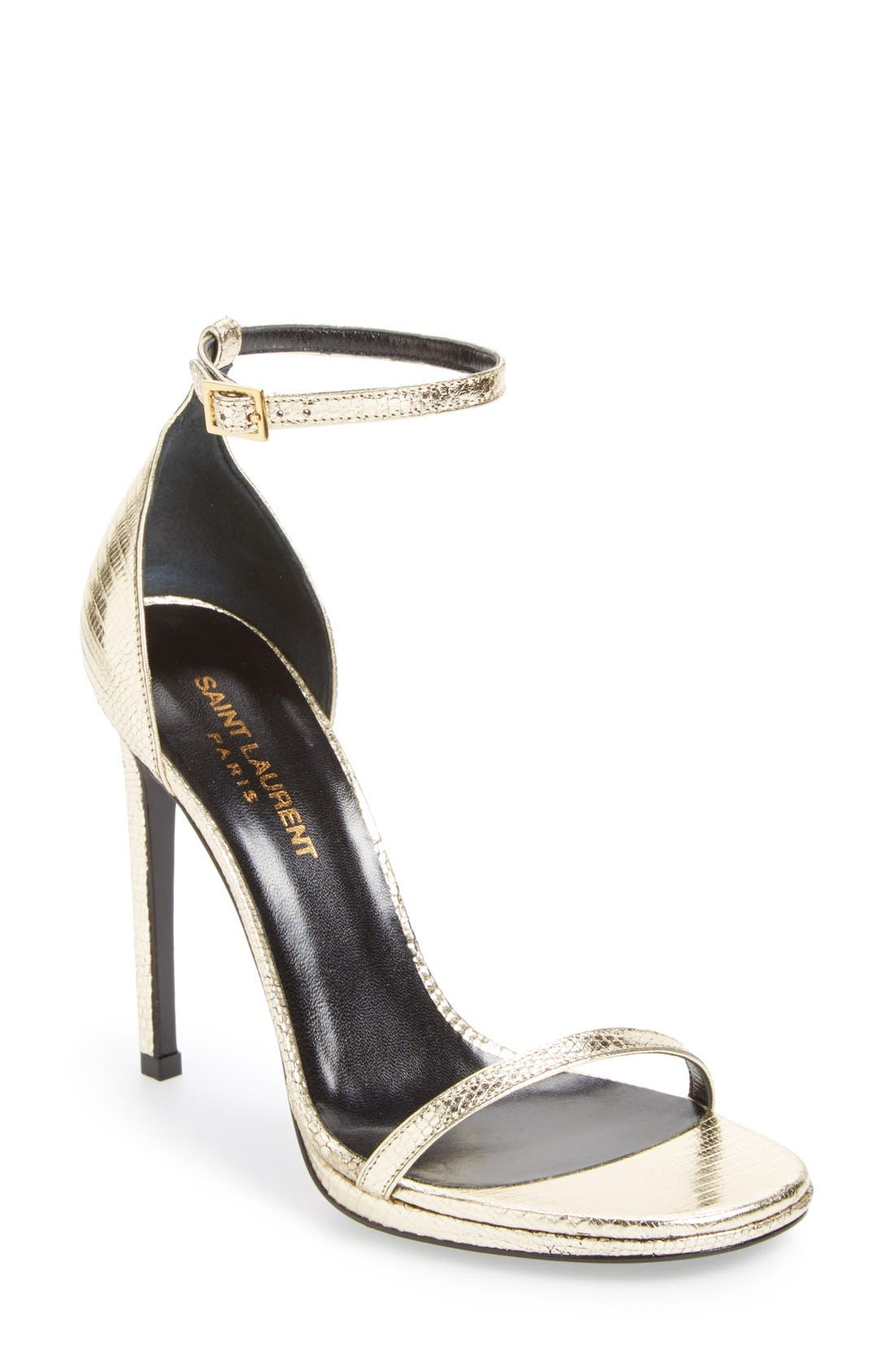 Main Image - Saint Laurent 'Jane' Metallic Lizard Embossed Ankle Strap Sandal (Women)