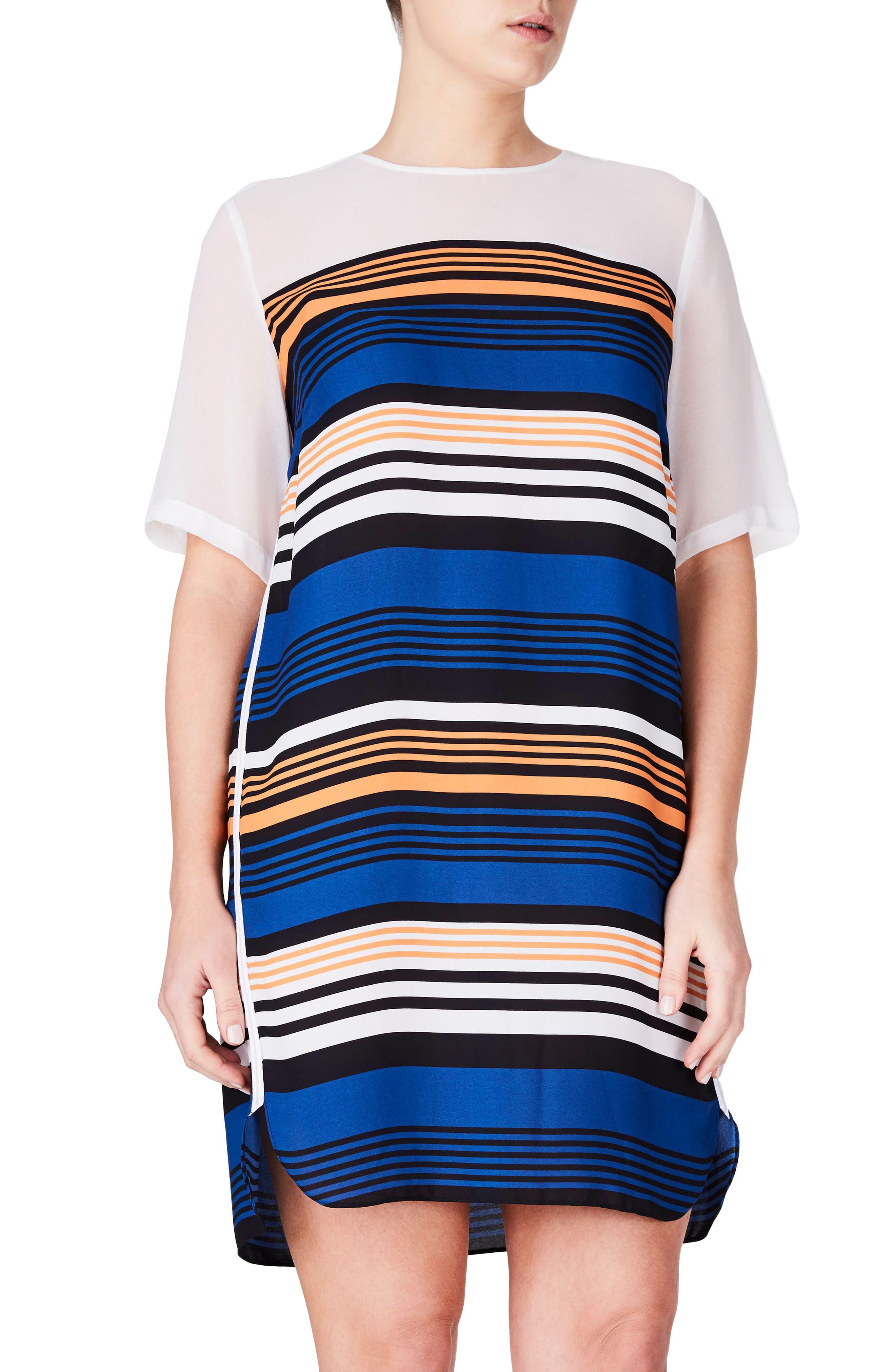 ELVI Stripe Shift Dress (Plus Size)