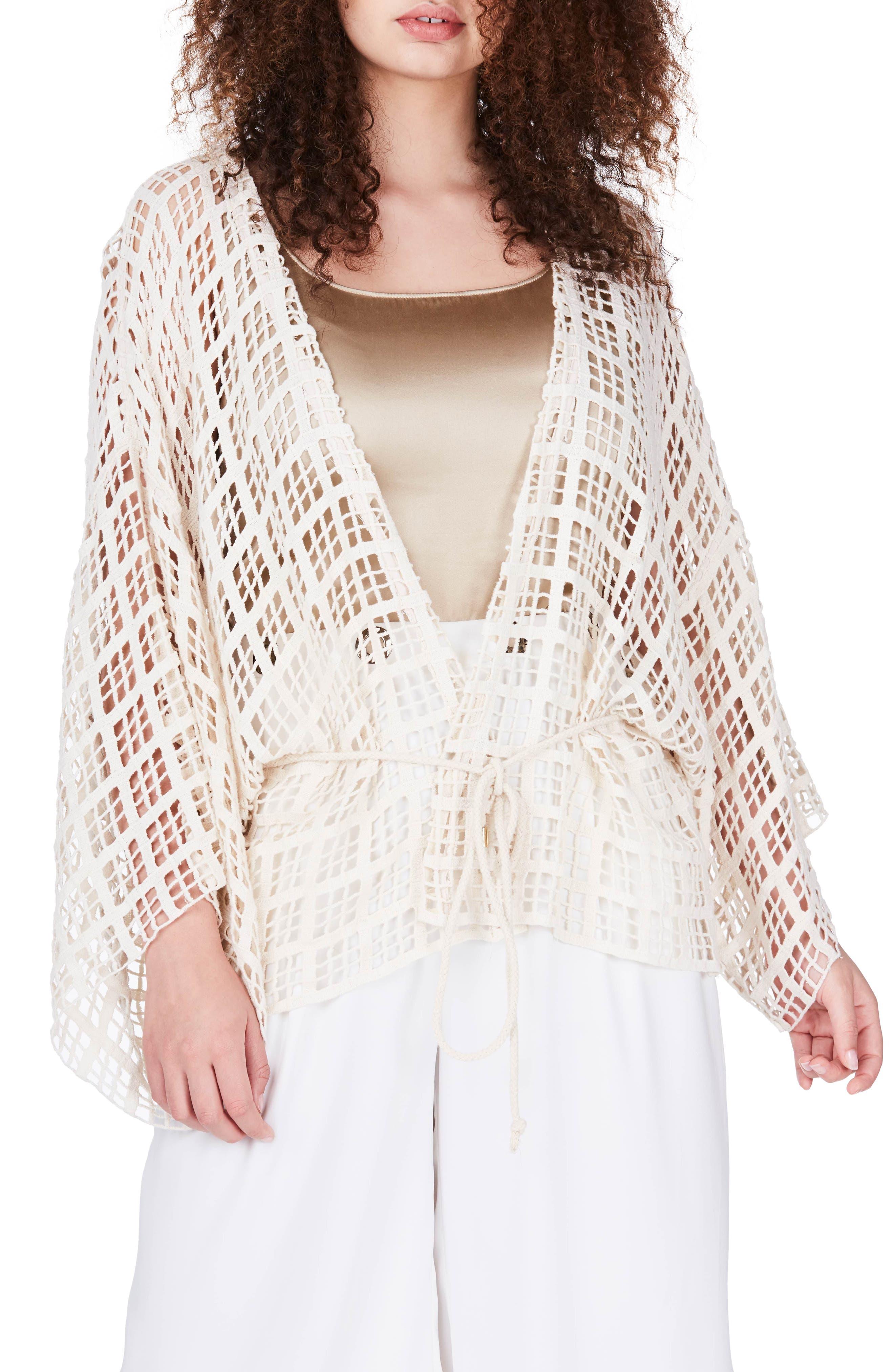 ELVI Square Lace Kimono (Plus Size)