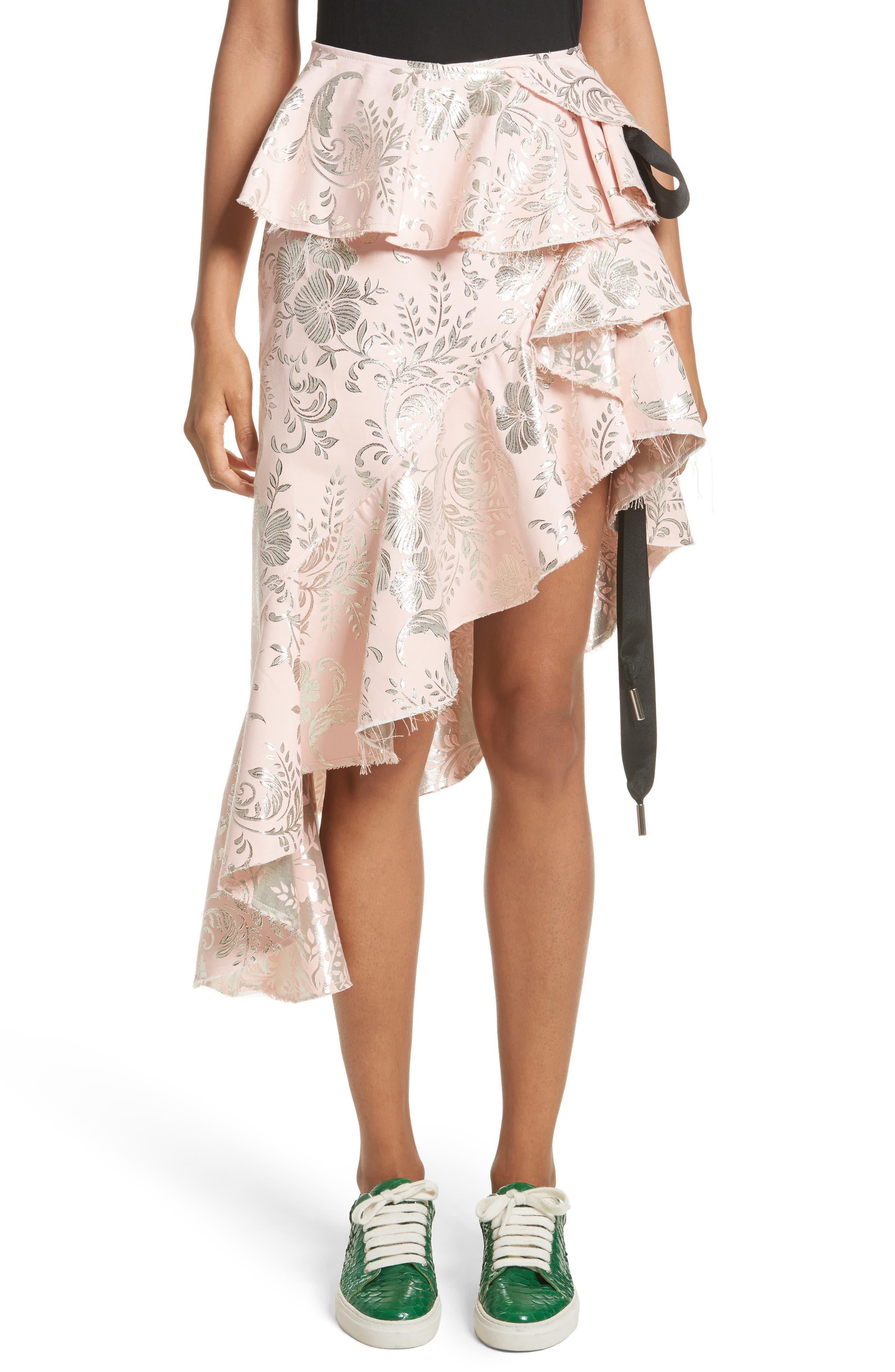 Marques'Almeida Asymmetrical Frilled Brocade Skirt
