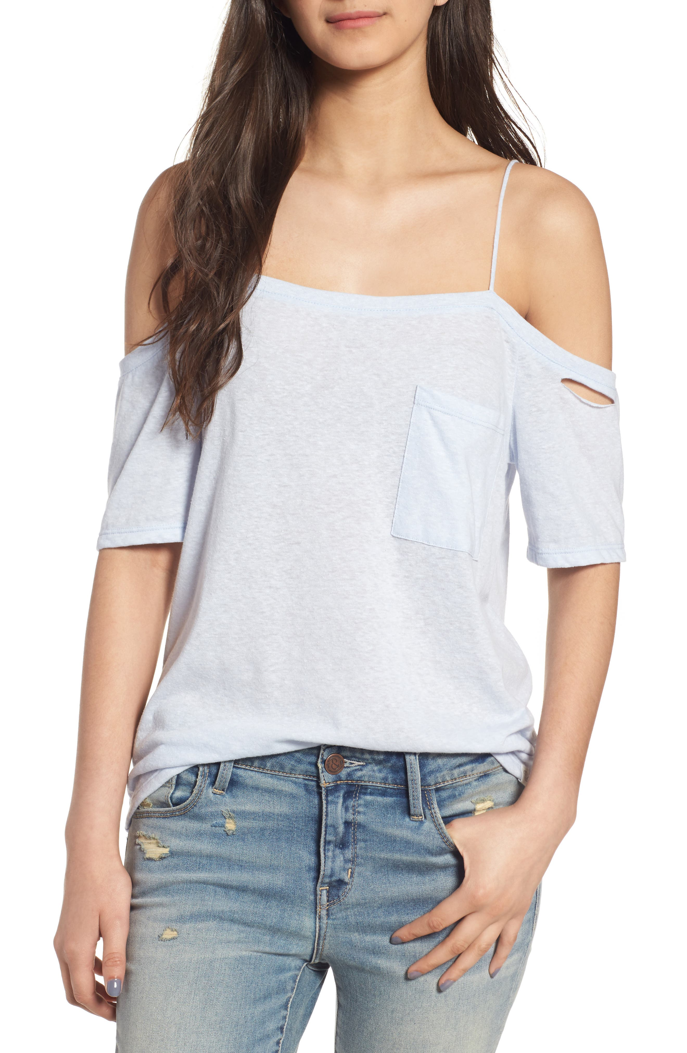 Treasure&Bond Distressed Off the Shoulder Top
