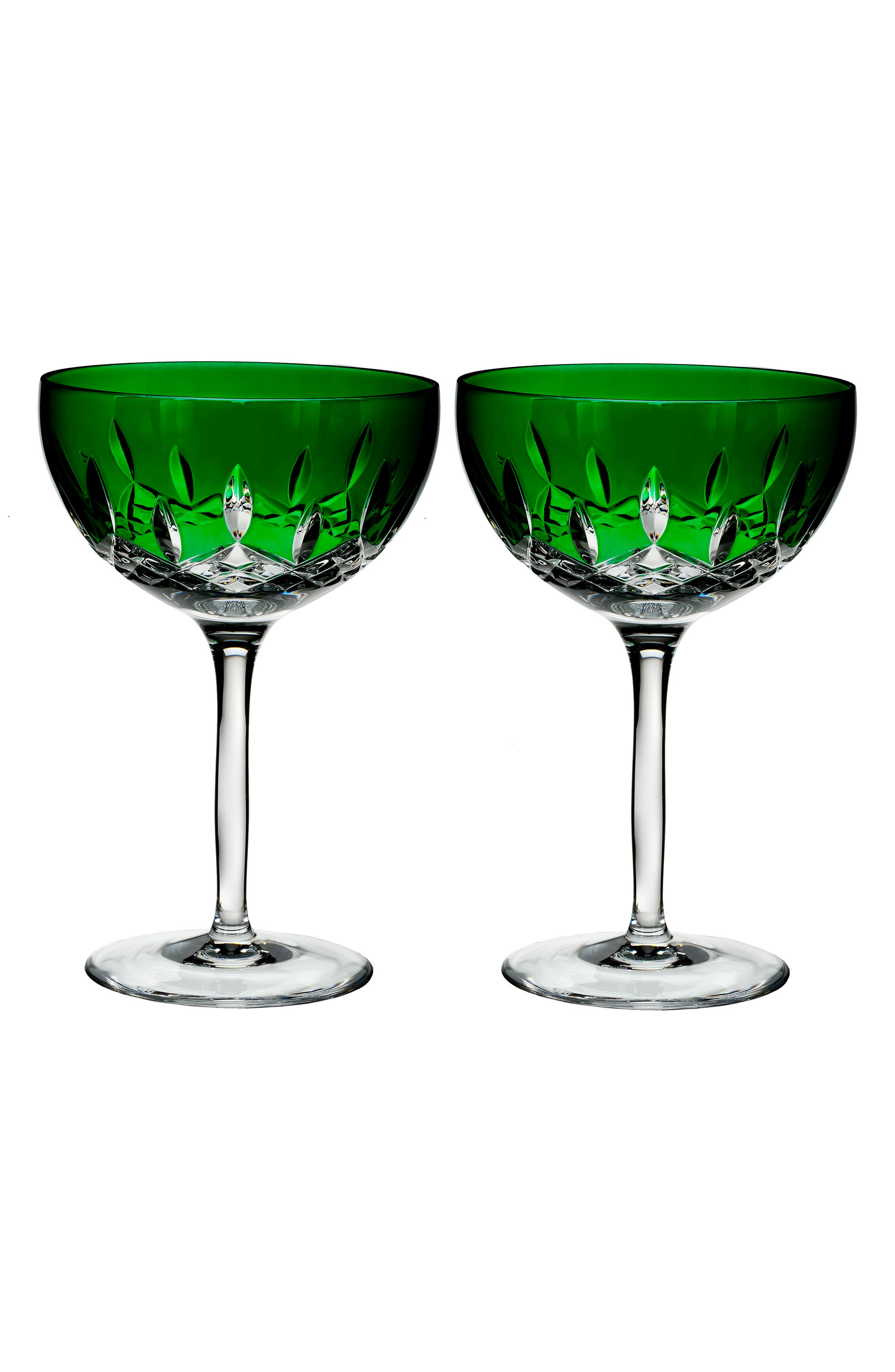 Waterford Lismore Pops Set of 2 Emerald Lead Crystal Cocktail Glasses