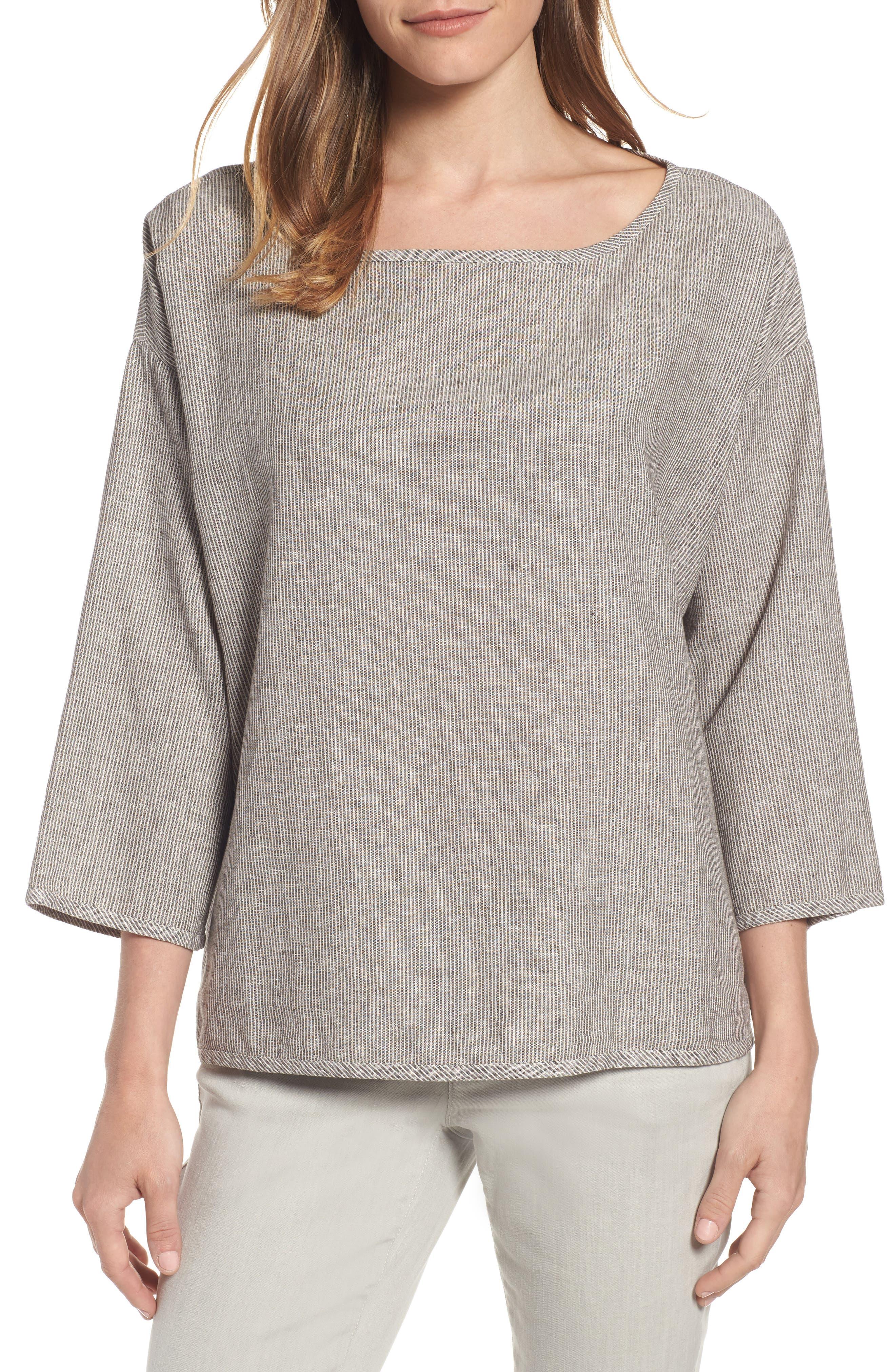 Eileen Fisher Stripe Hemp & Organic Cotton Boxy Top