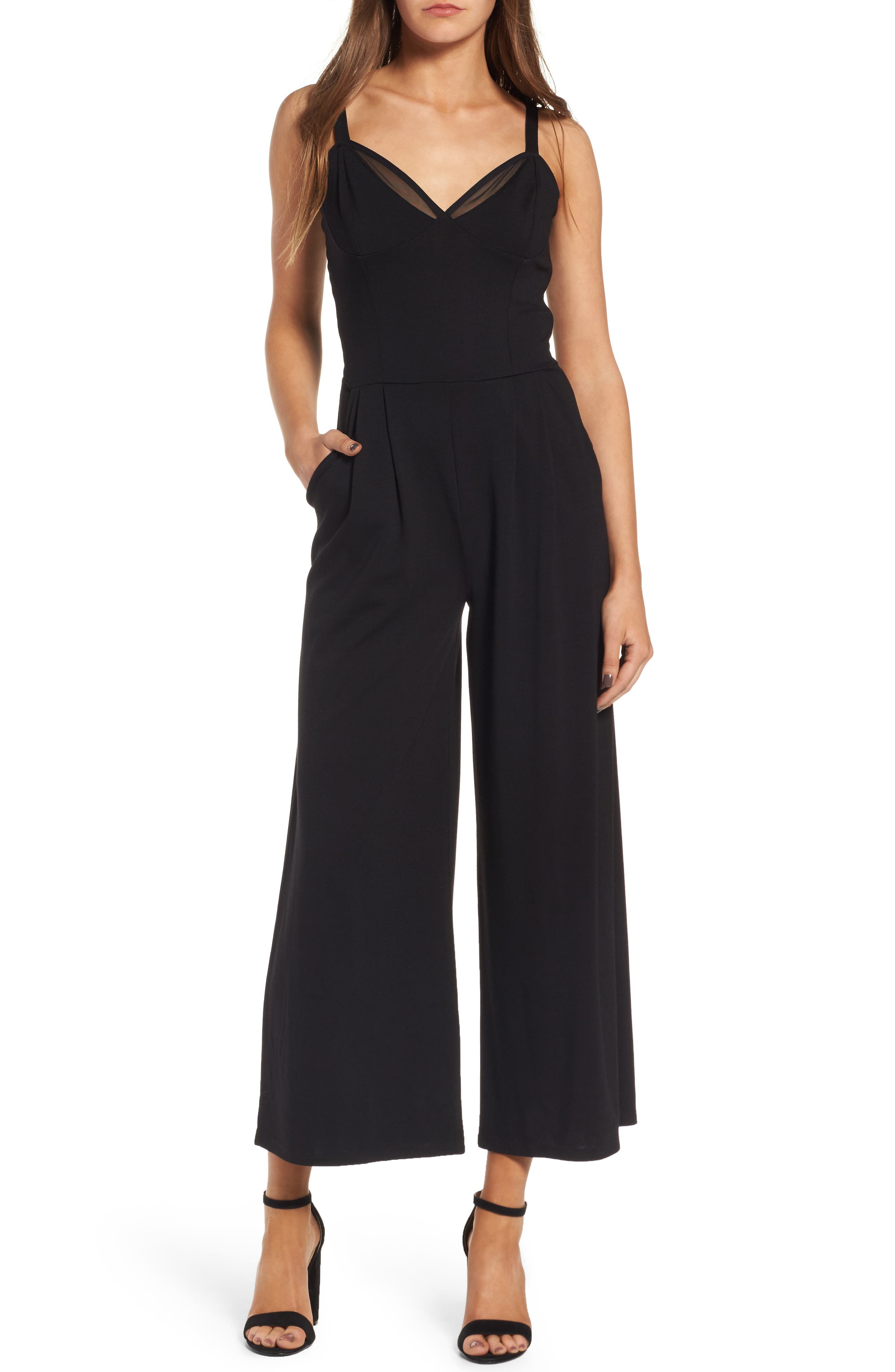 Leith Ballet Crop Wide Leg Ponte Jumpsuit