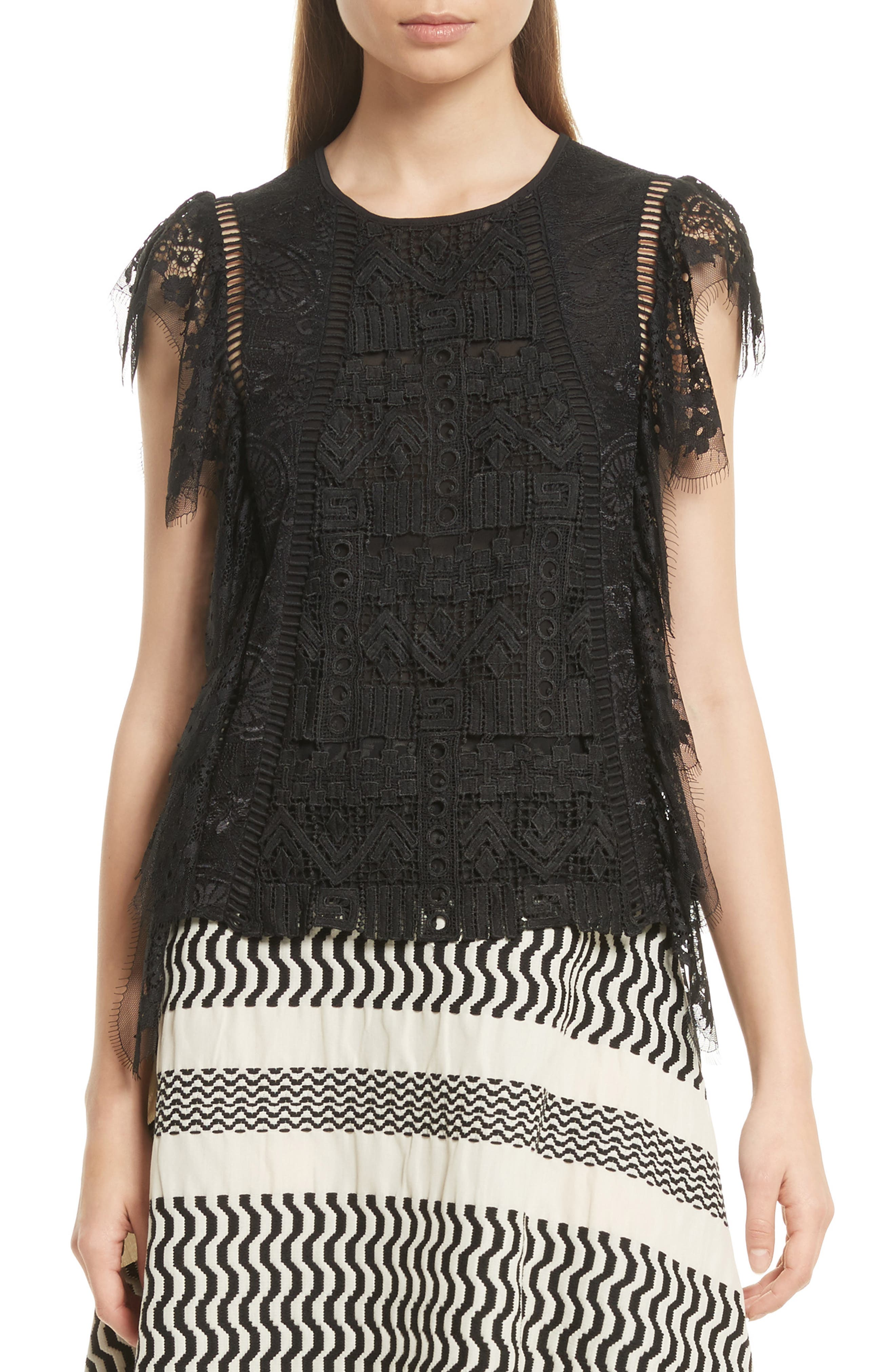 Tracy Reese Flounce Lace Top