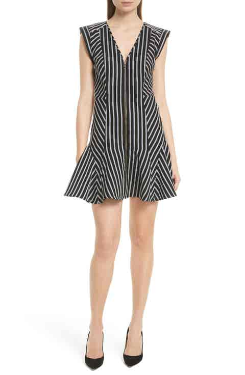 Veronica Beard Pop Stripe Fit   Flare Dress