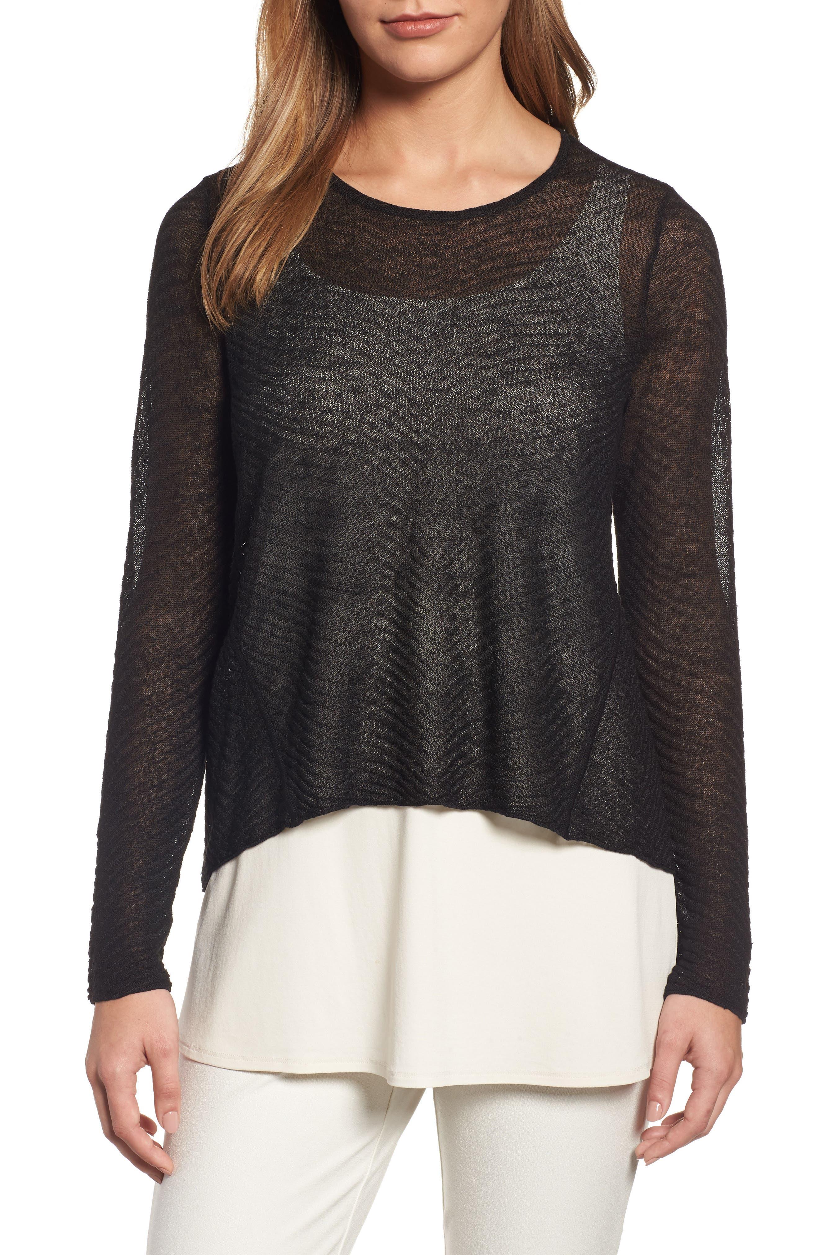 Eileen Fisher Hemp Blend Crop High/Low Sweater (Regular & Petite)