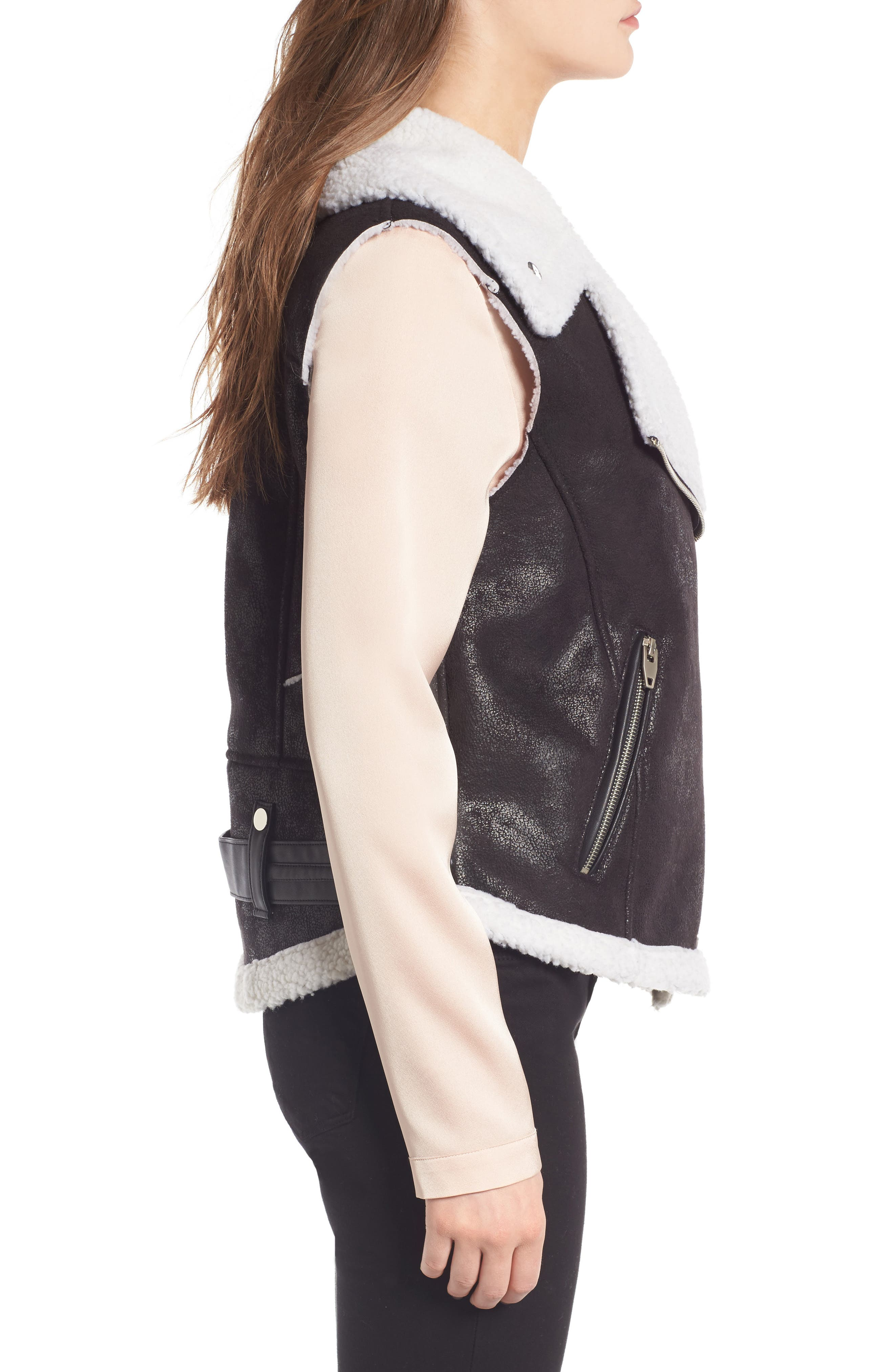 Alternate Image 3  - Love Token Faux Shearling Moto Vest
