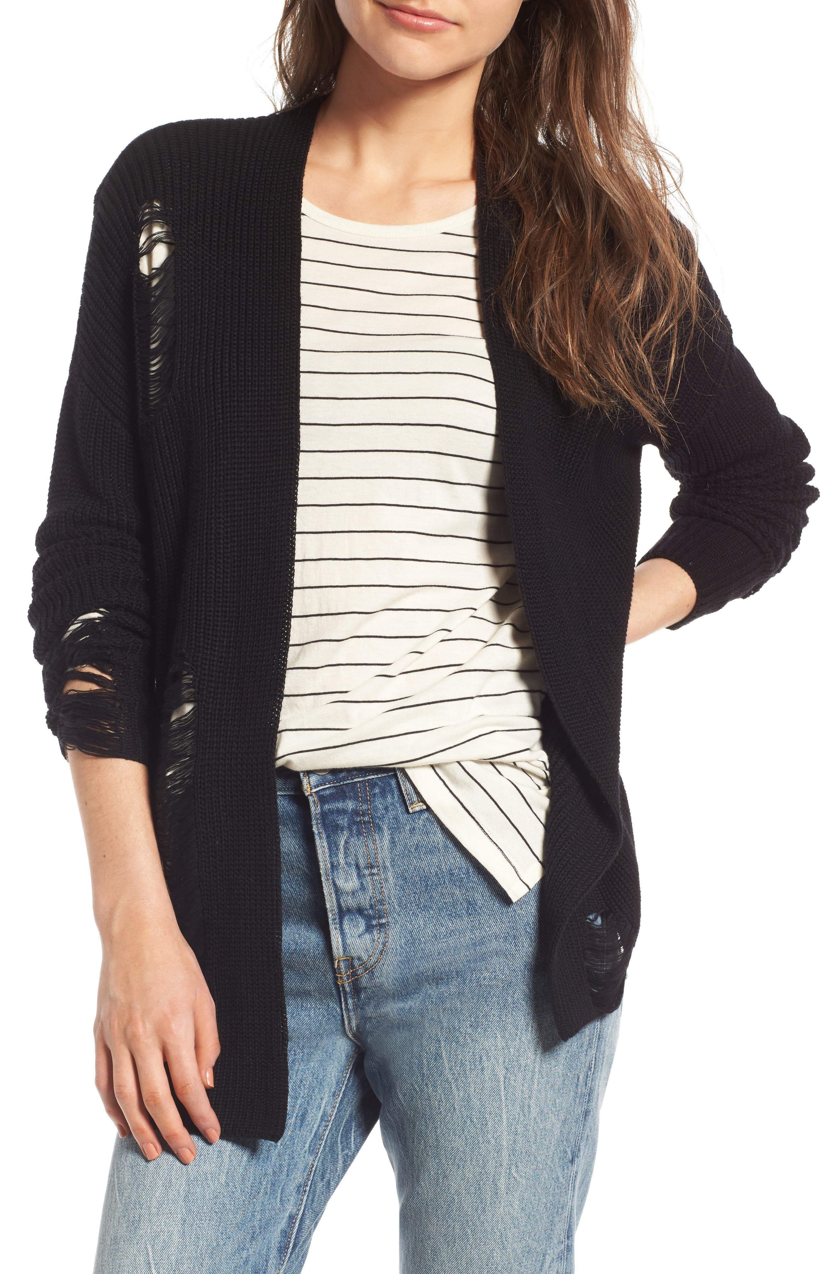 BP. Distressed Cotton Cardigan