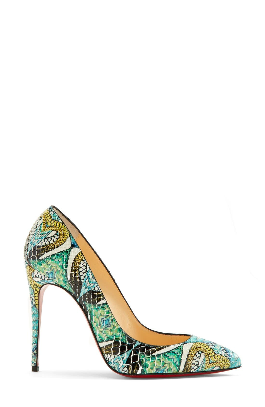 Alternate Image 4  - Christian Louboutin 'Pigalle' Hand Painted Genuine Python Pointy Toe Pump