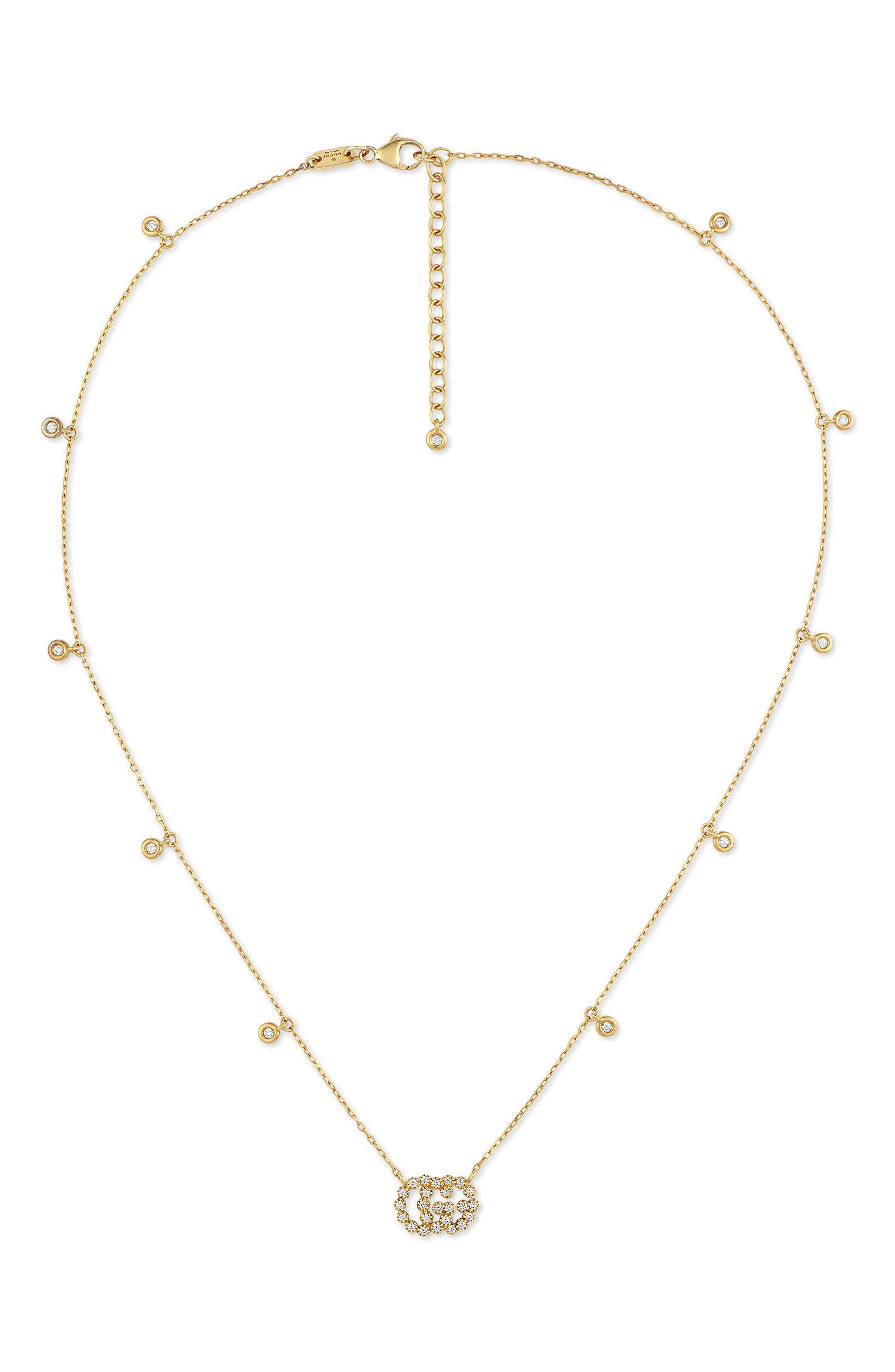 Gucci Running G Diamond Pendant Necklace