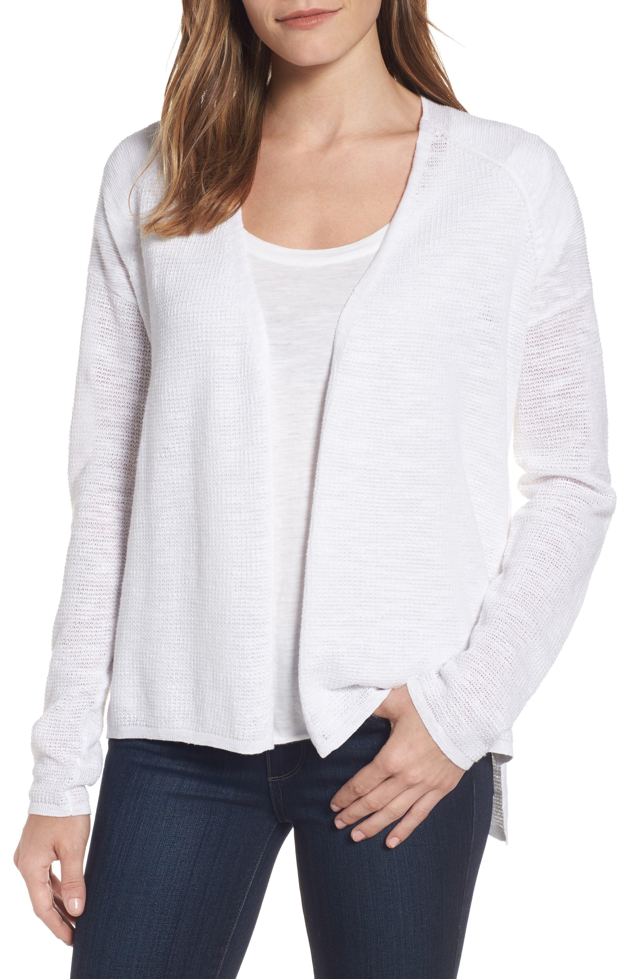 Eileen Fisher V-Neck Organic Linen & Cotton Cardigan