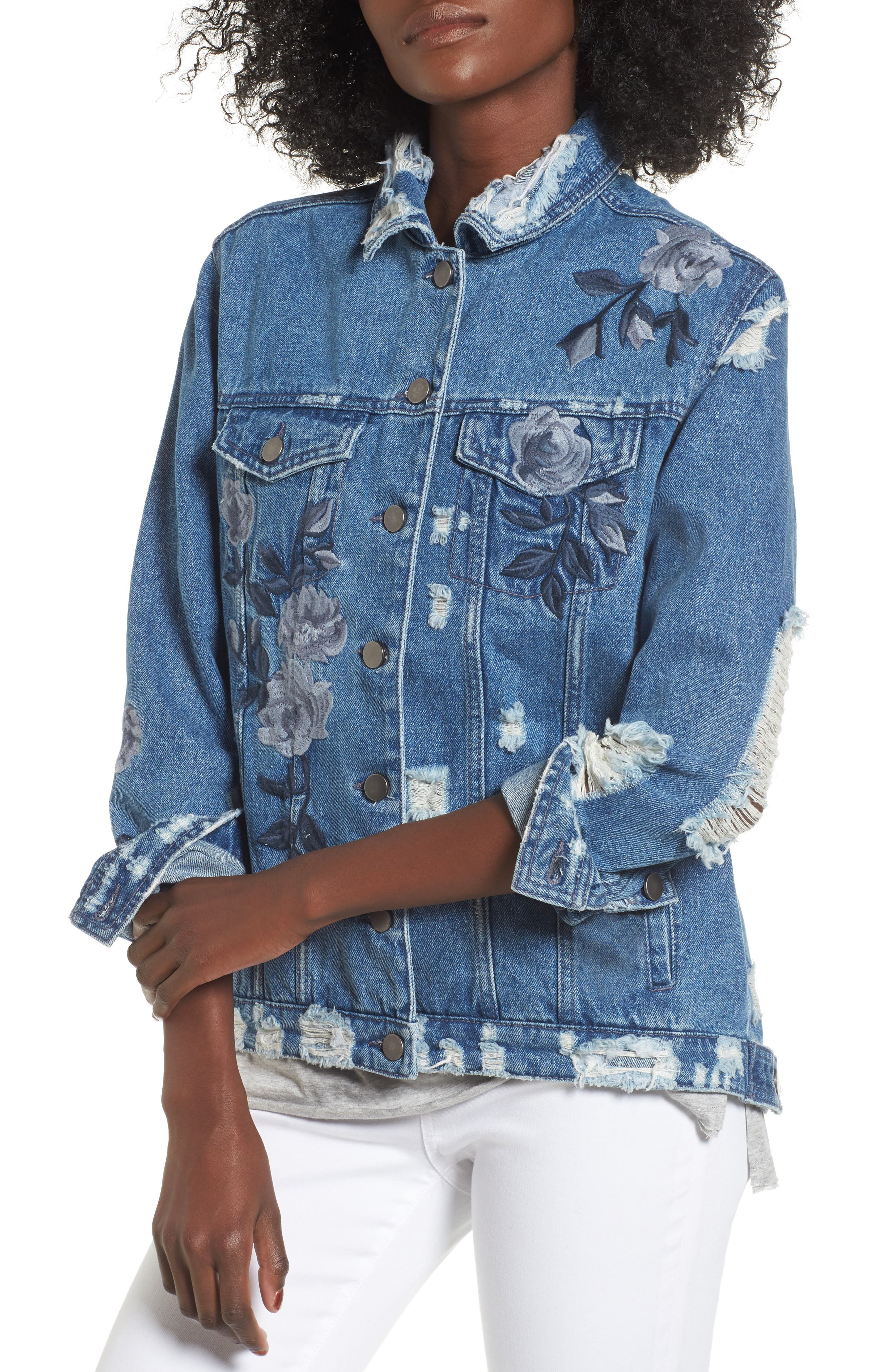 Alternate Image 4  - Love, Fire Floral Embroidered Ripped Denim Jacket