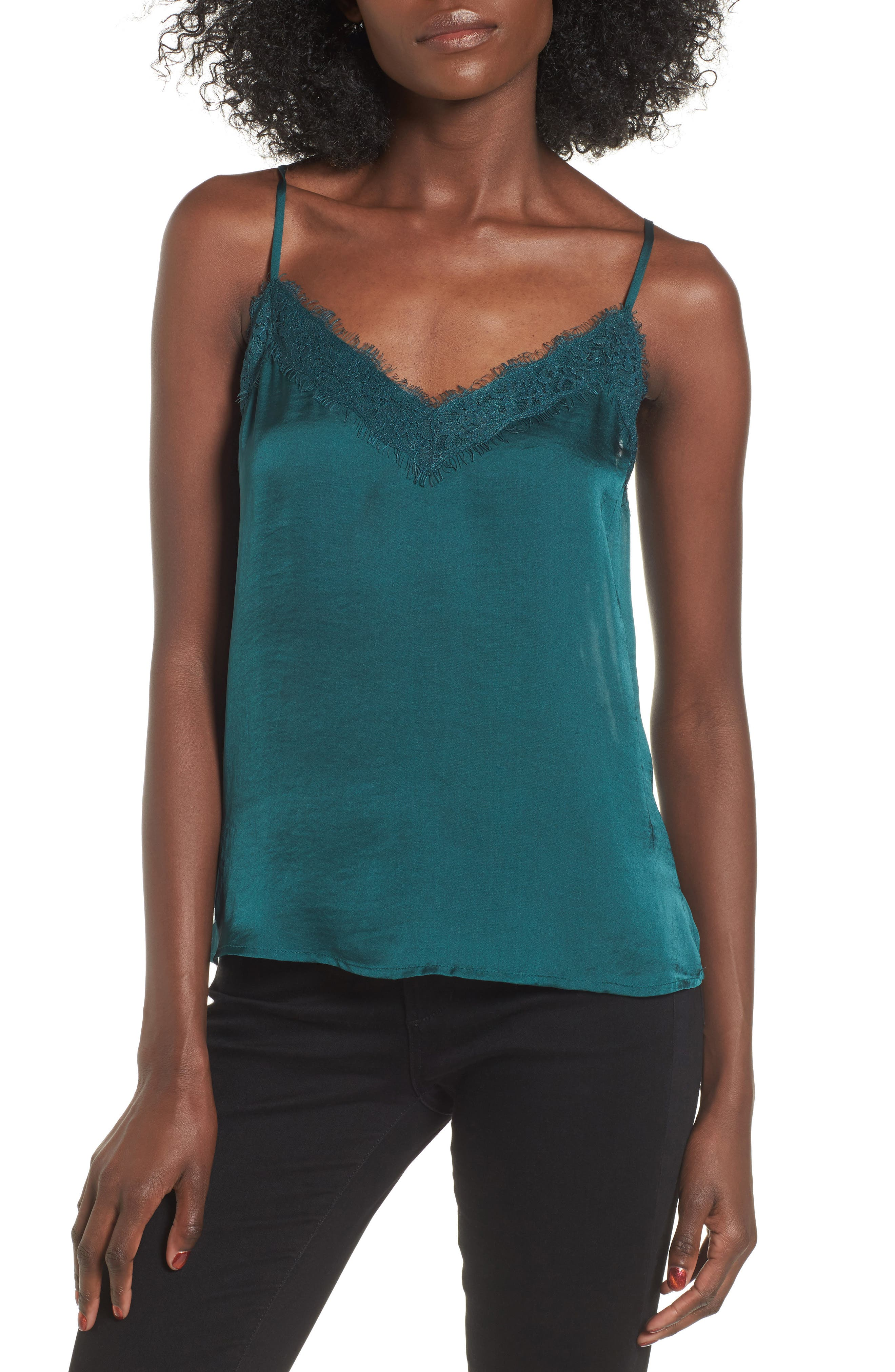 Main Image - BP. Lace Trim Satin Camisole