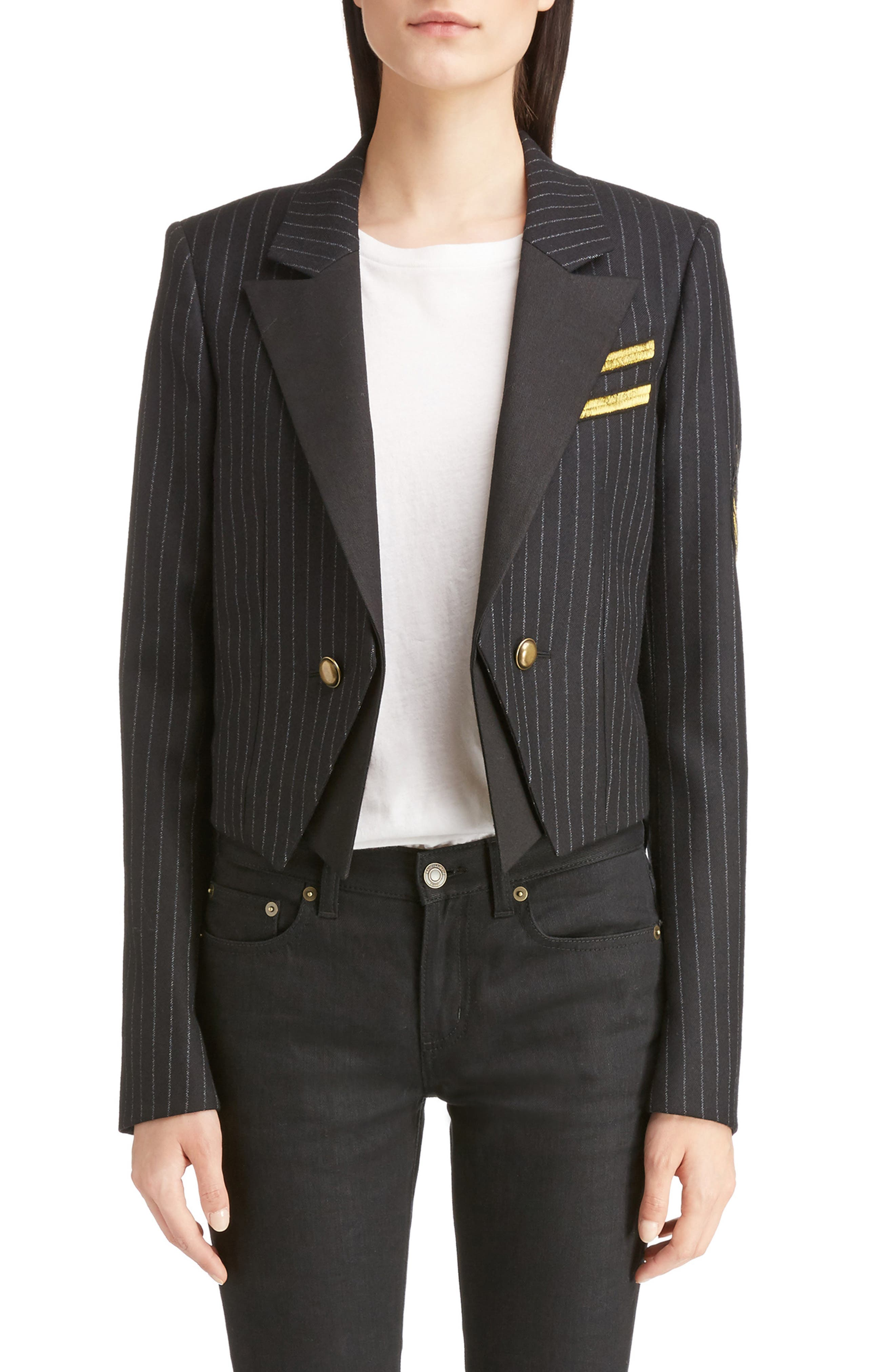Saint Laurent Spencer Crop Military Jacket