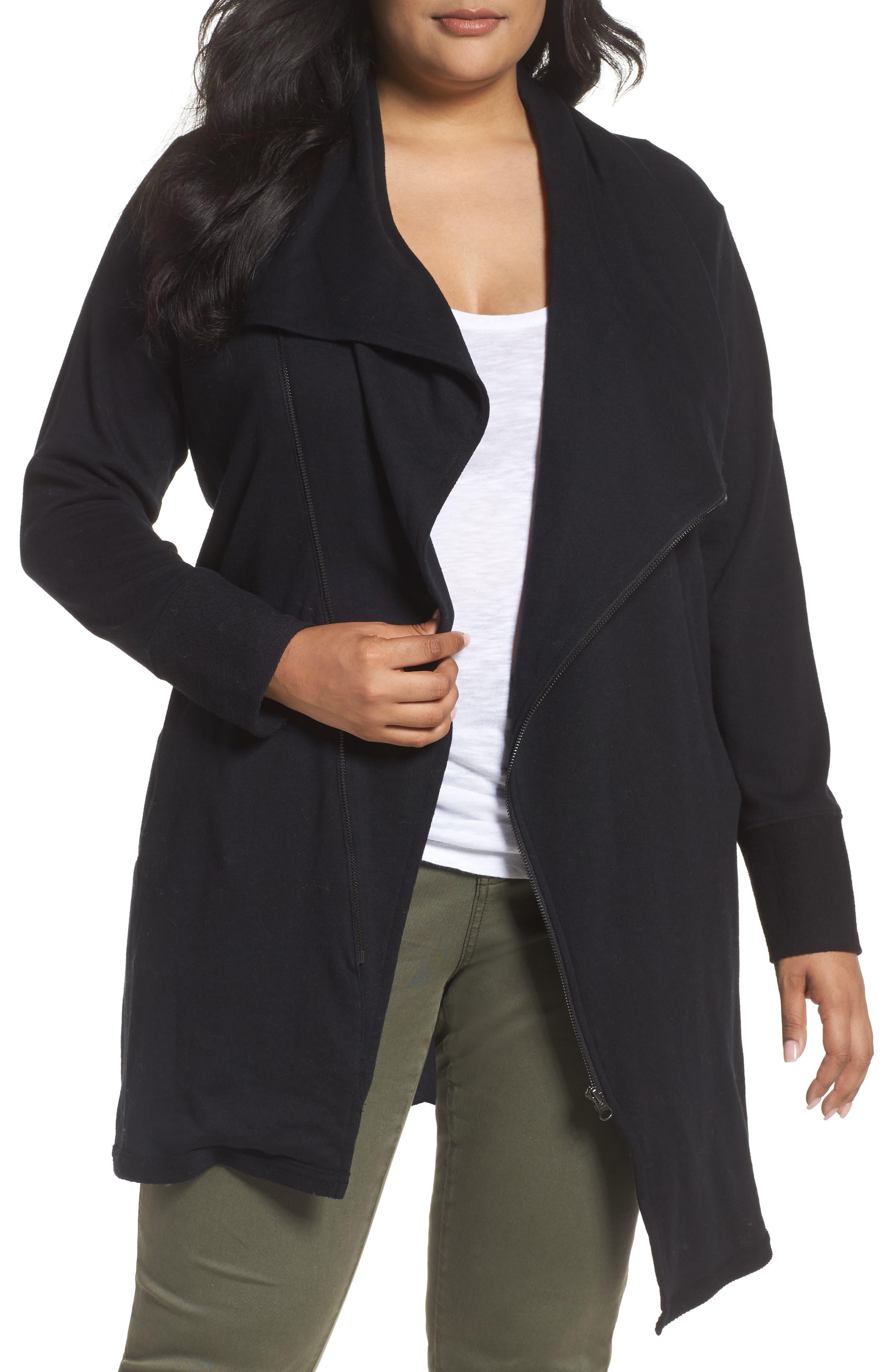 Caslon® Asymmetrical Zip Long Cardigan (Plus Size)