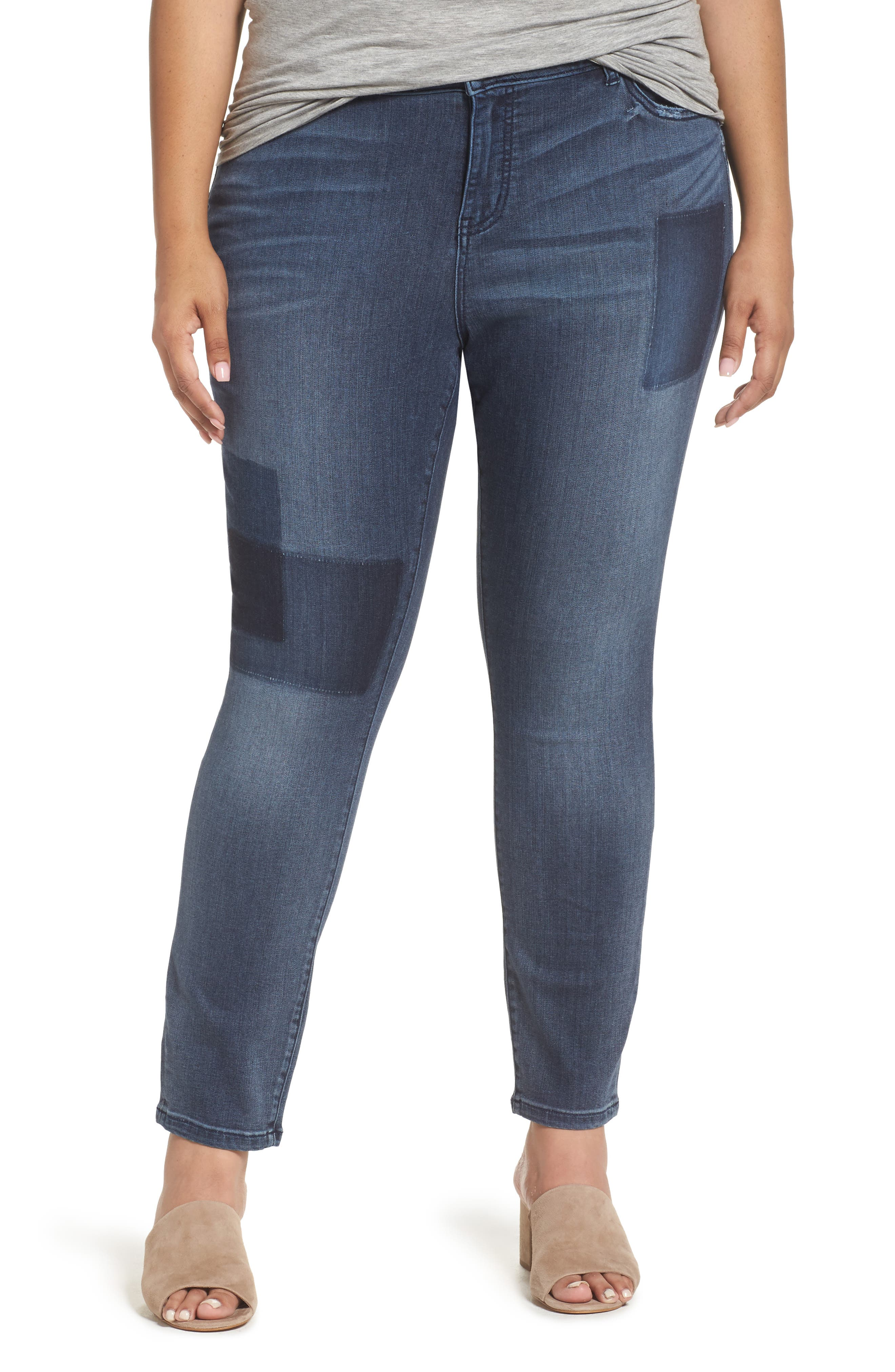 Caslon® Patchwork Skinny Jeans (Plus Size)