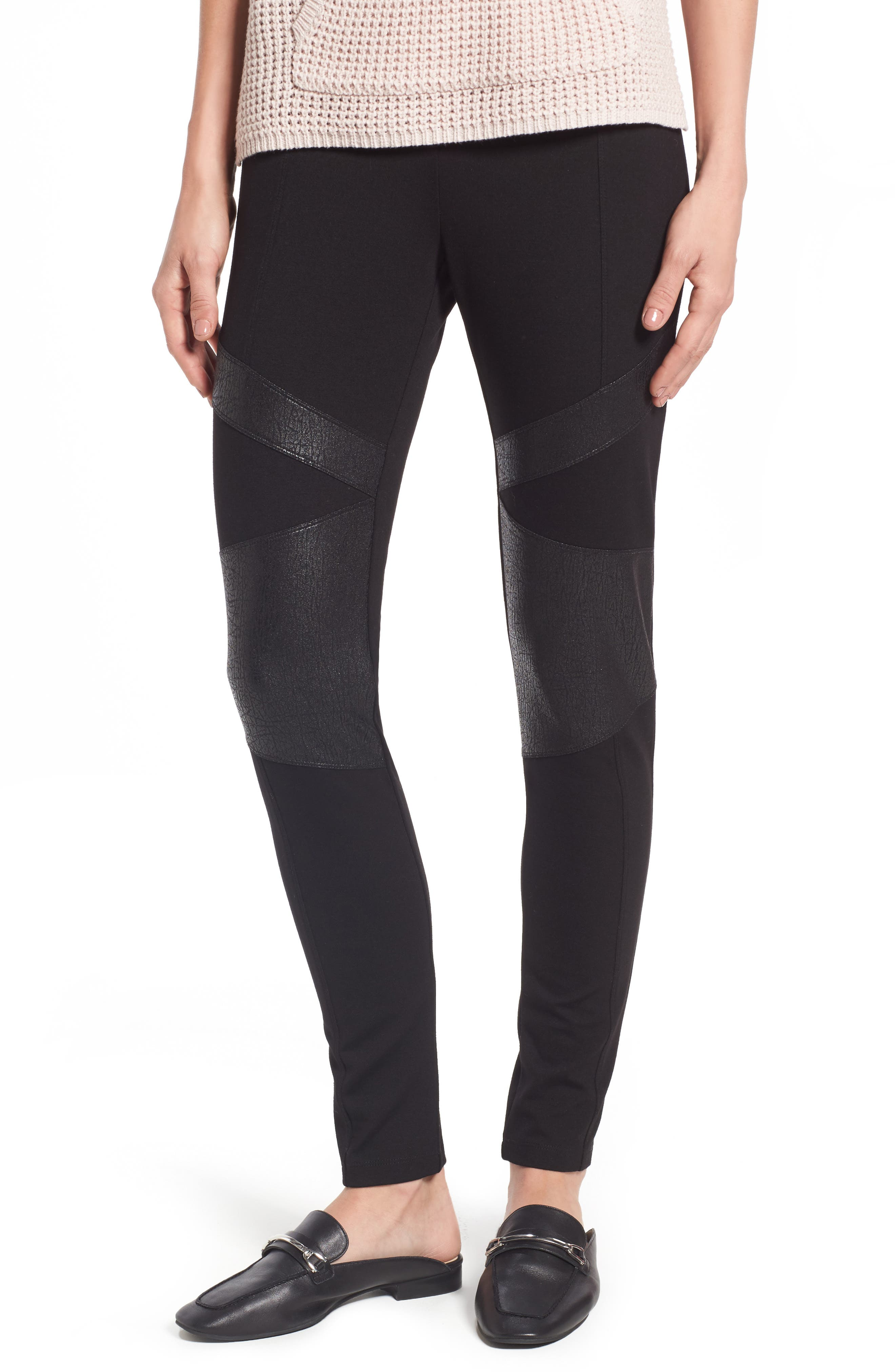 Main Image - Two by Vince Camuto Lacquer Inset Moto Leggings (Regular & Petite)