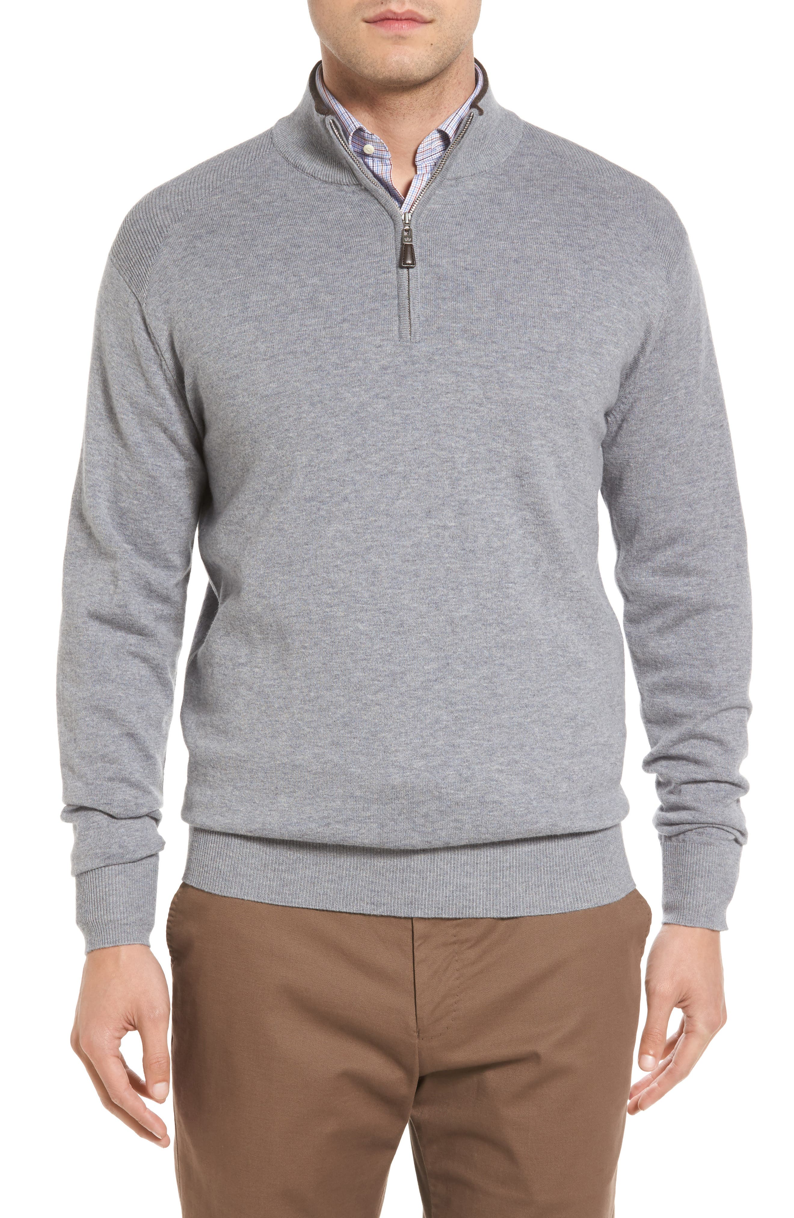 Peter Millar Mock Neck Quarter Zip Wool & Cotton Sweater