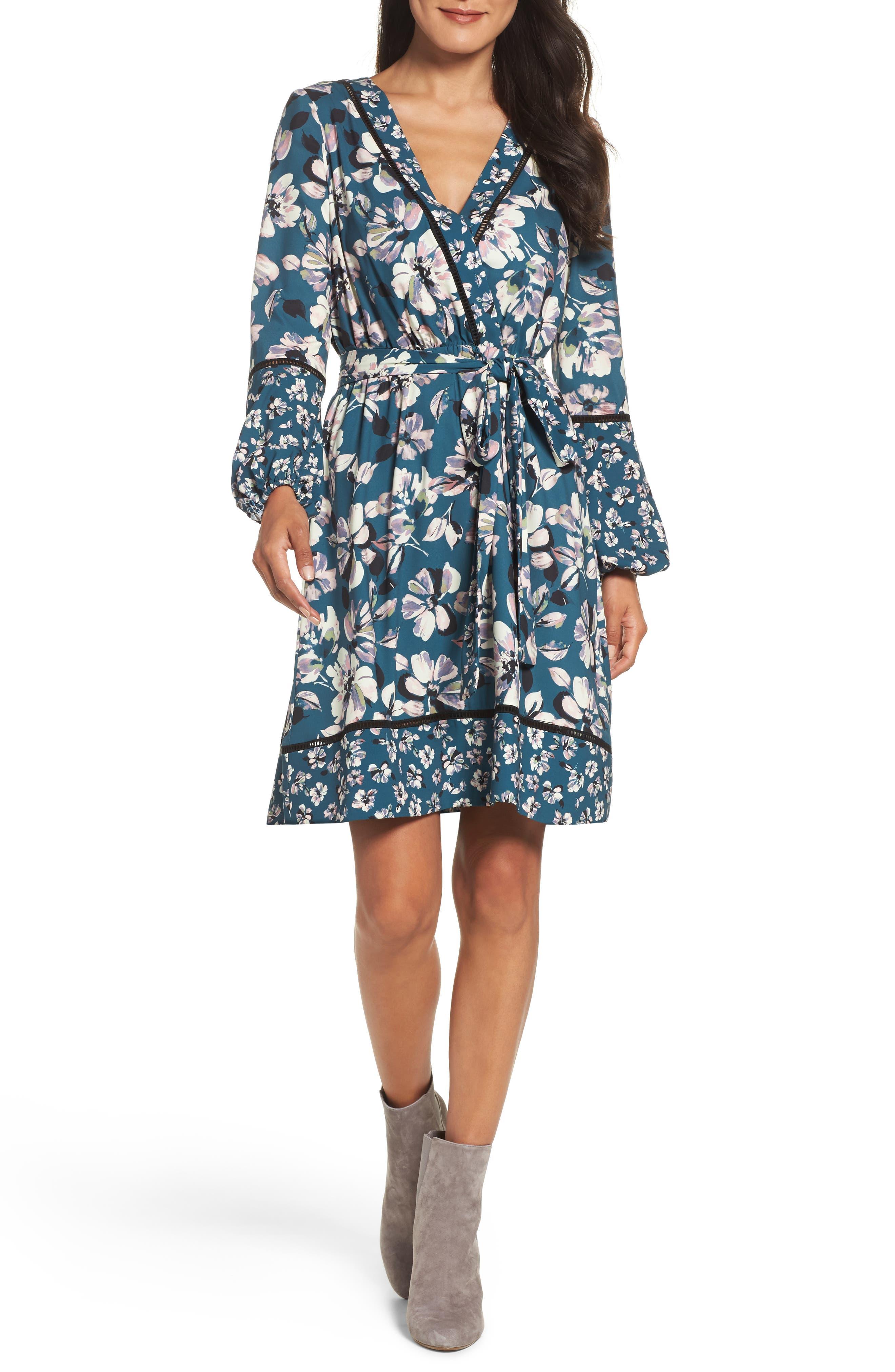 Alternate Image 4  - Eliza J Print Bell Sleeve Faux Wrap Dress (Regular & Petite)