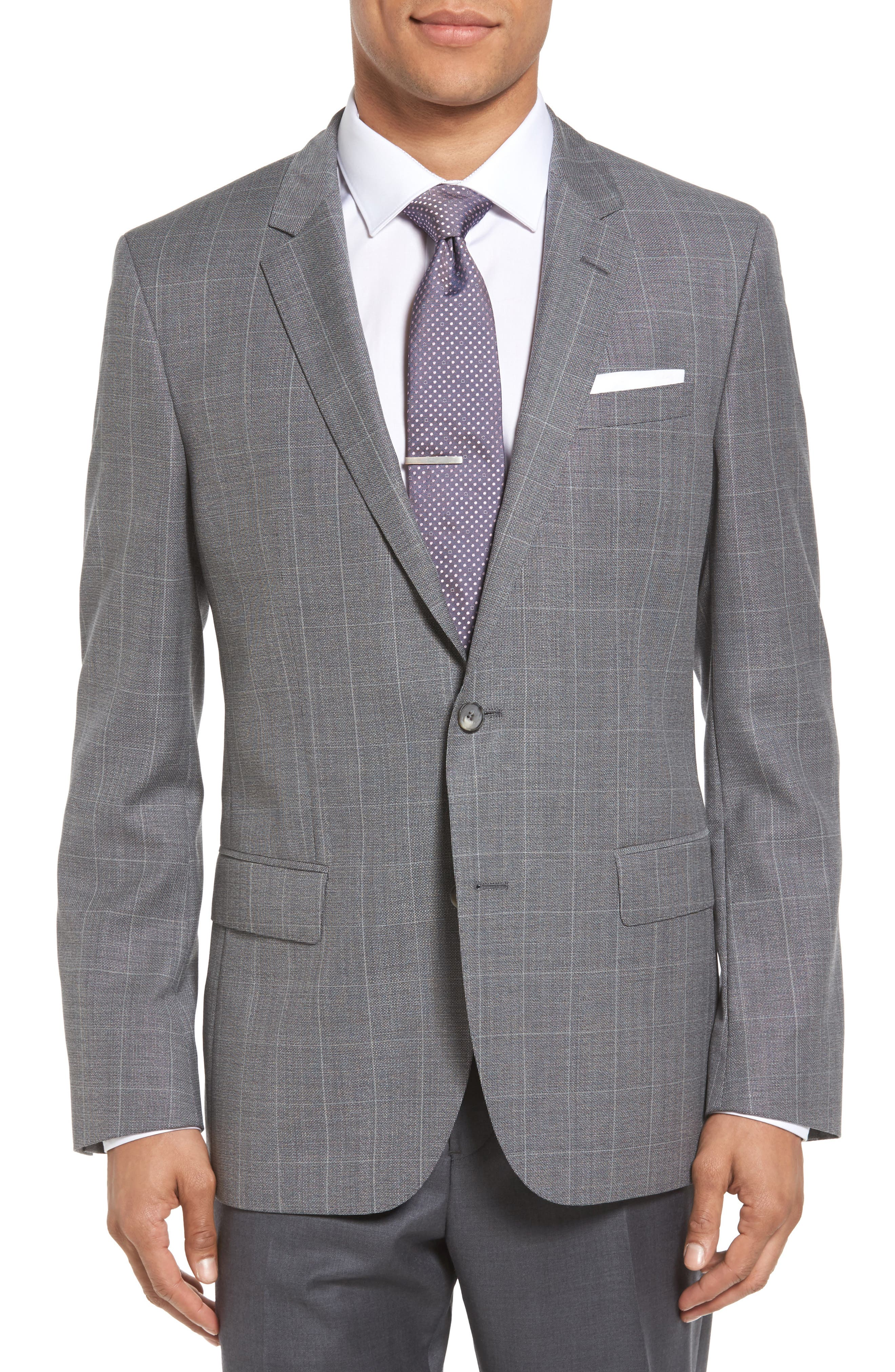 BOSS Hutch 2 Trim Fit Windowpane Wool Sport Coat