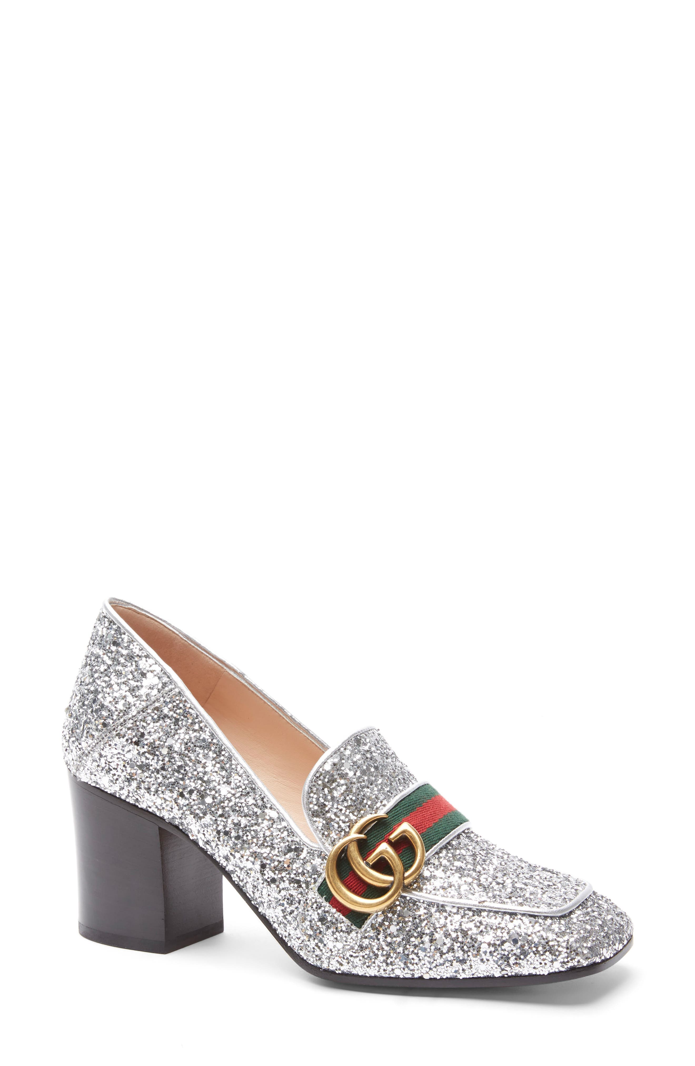 Alternate Image 1 Selected - Gucci Glitter Peyton Loafer Pump (Women)