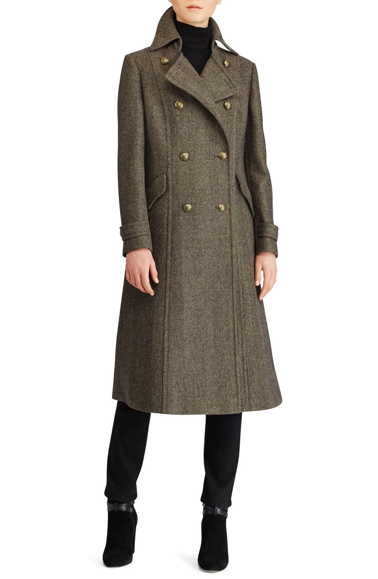 Lauren Ralph Lauren Herringbone Wool Blend Long Military Coat